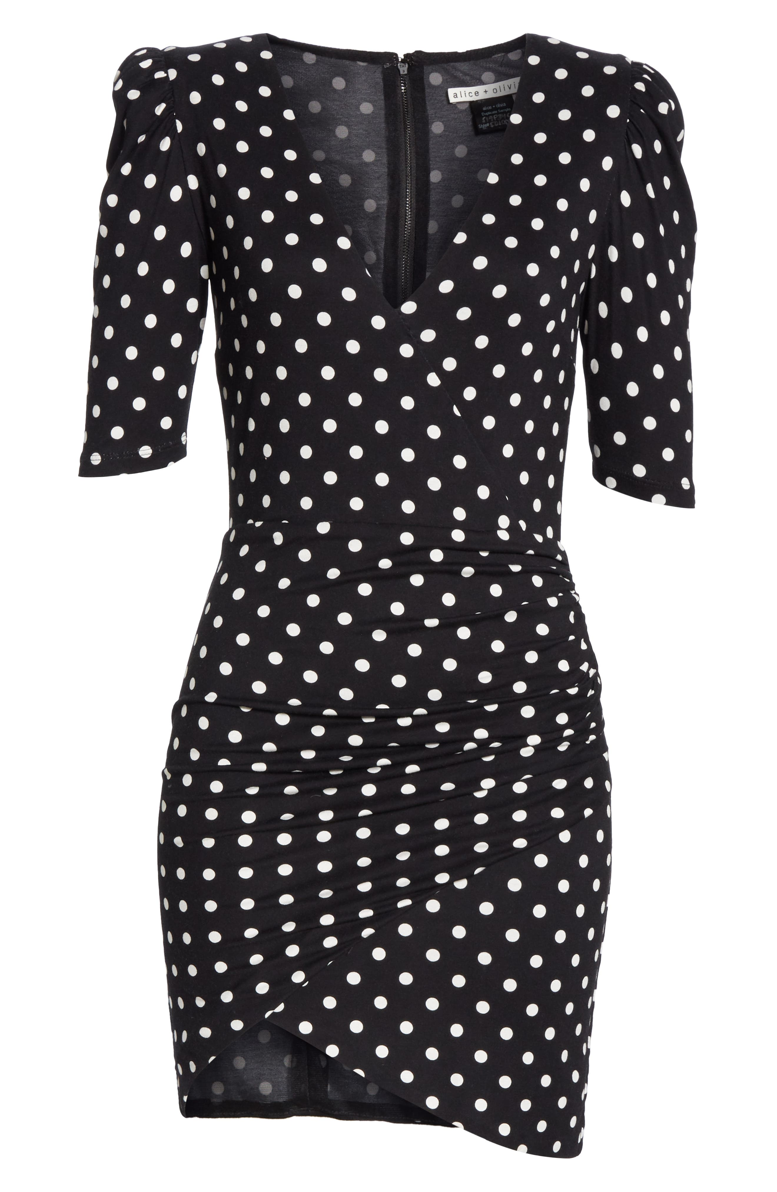 ALICE + OLIVIA, Judy Ruched Faux Wrap Dress, Alternate thumbnail 6, color, 001