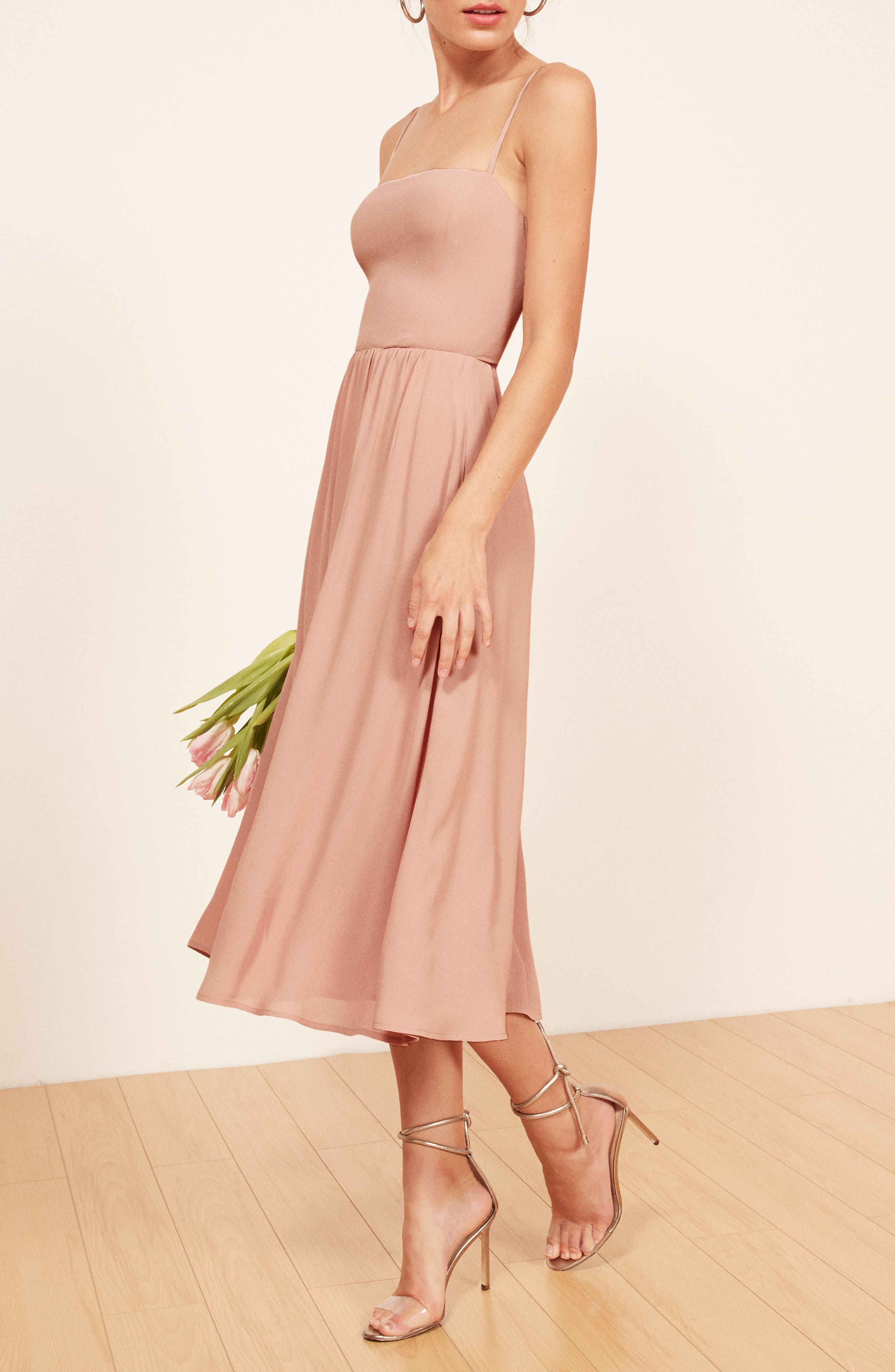 REFORMATION, Rosehip Fit & Flare Dress, Alternate thumbnail 5, color, BLUSH