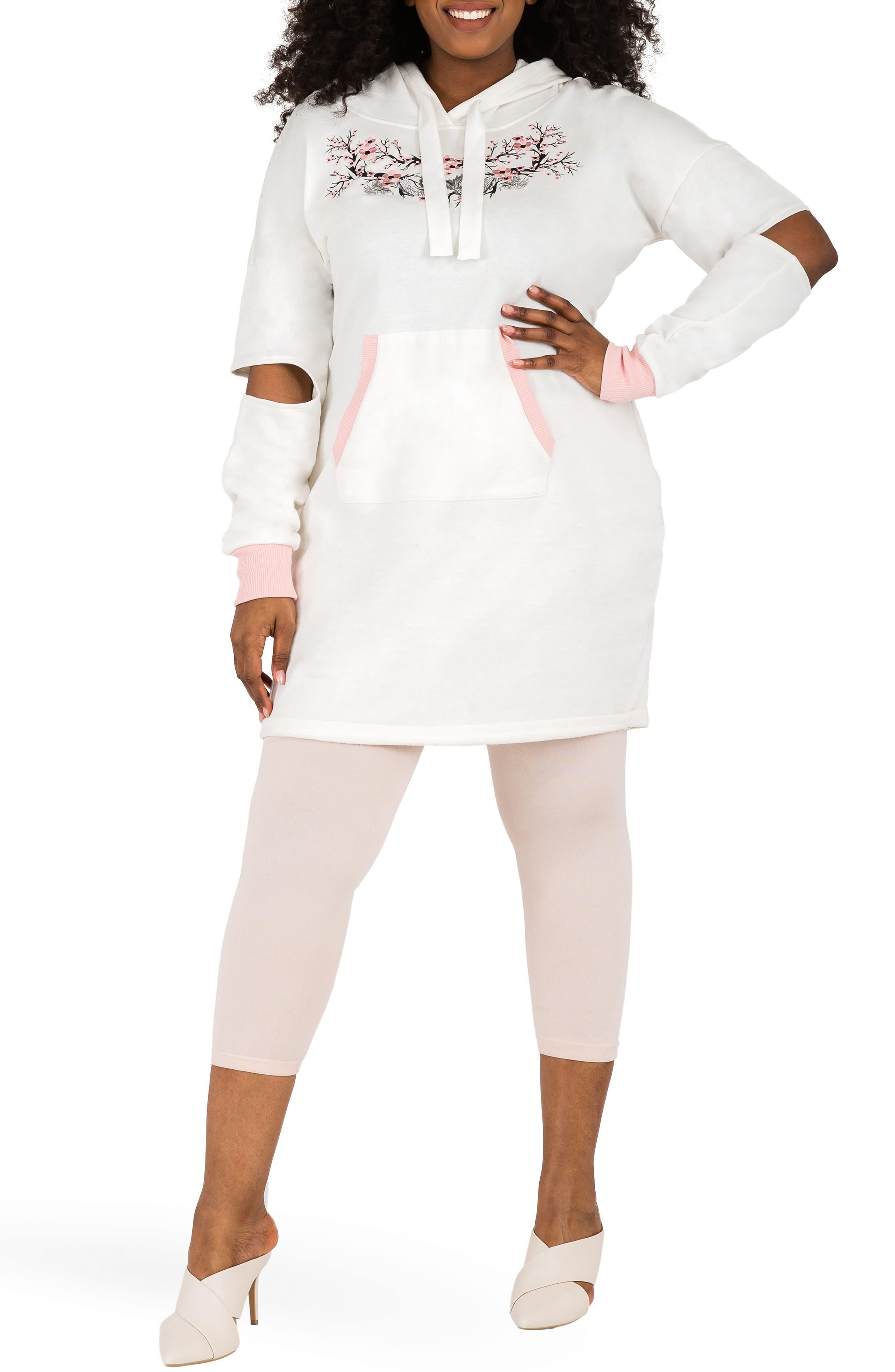 POETIC JUSTICE, Cylene Hoodie Dress, Alternate thumbnail 5, color, QUARTZ WHITE