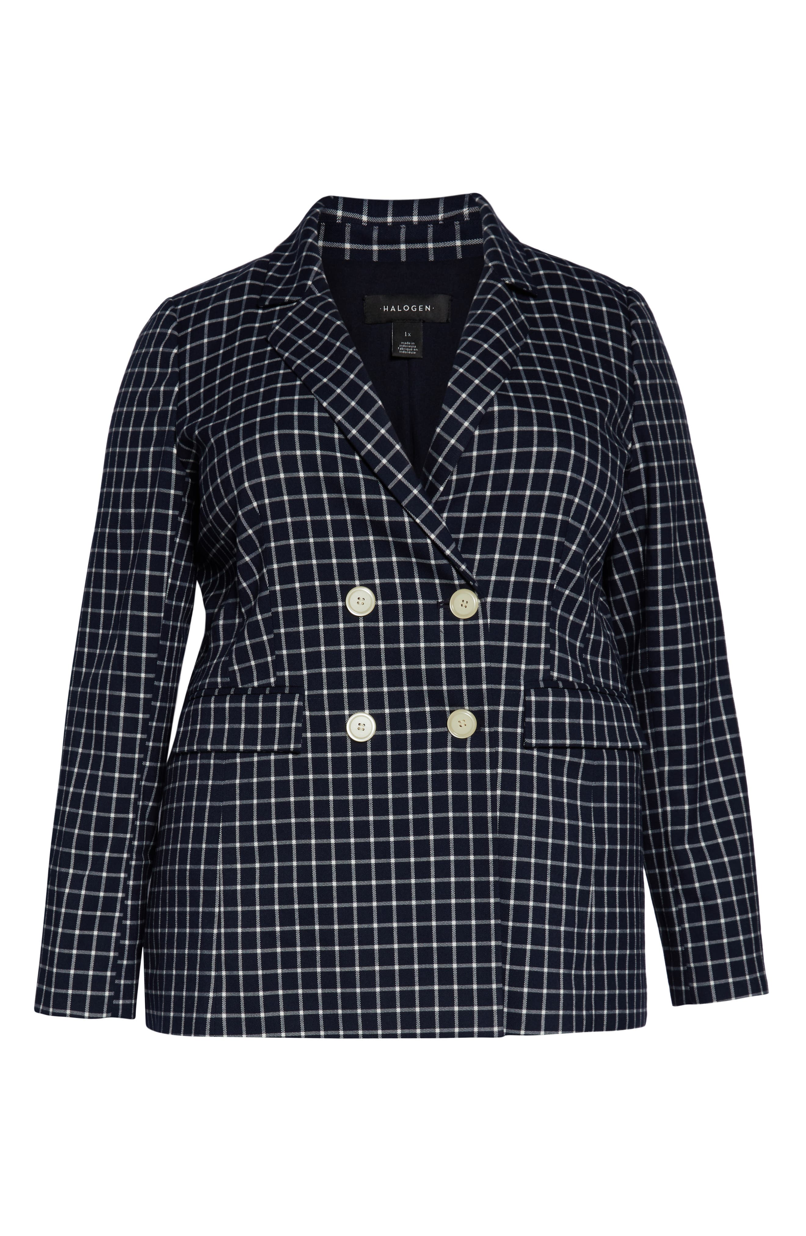 HALOGEN<SUP>®</SUP>, Double Breasted Check Blazer, Alternate thumbnail 6, color, NAVY CHECK
