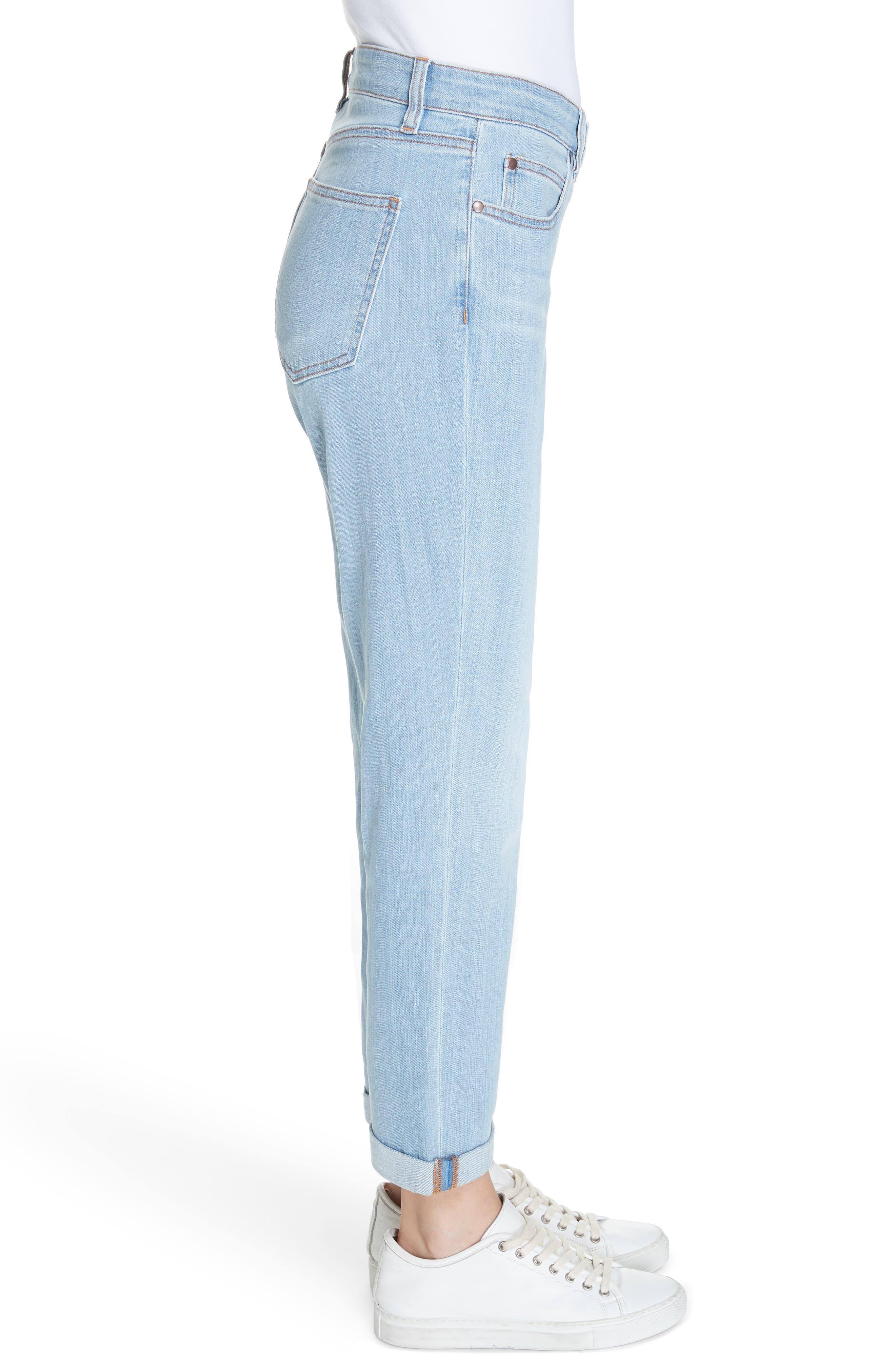 EILEEN FISHER, Organic Cotton Boyfriend Jeans, Alternate thumbnail 4, color, ICE BLUE
