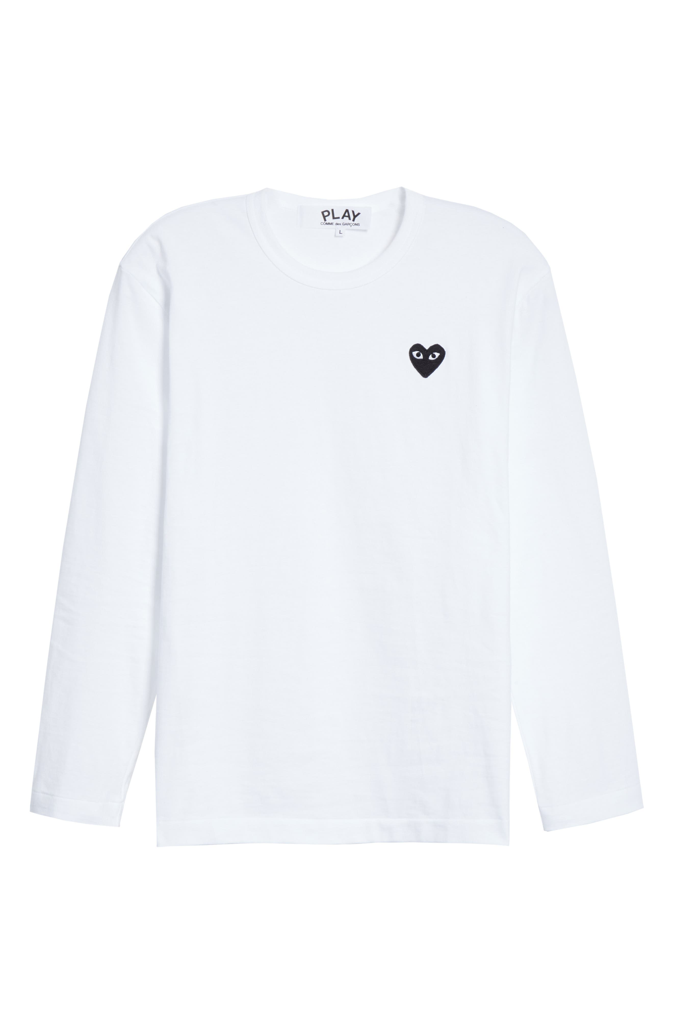 COMME DES GARÇONS PLAY, Black Heart T-Shirt, Alternate thumbnail 6, color, WHITE