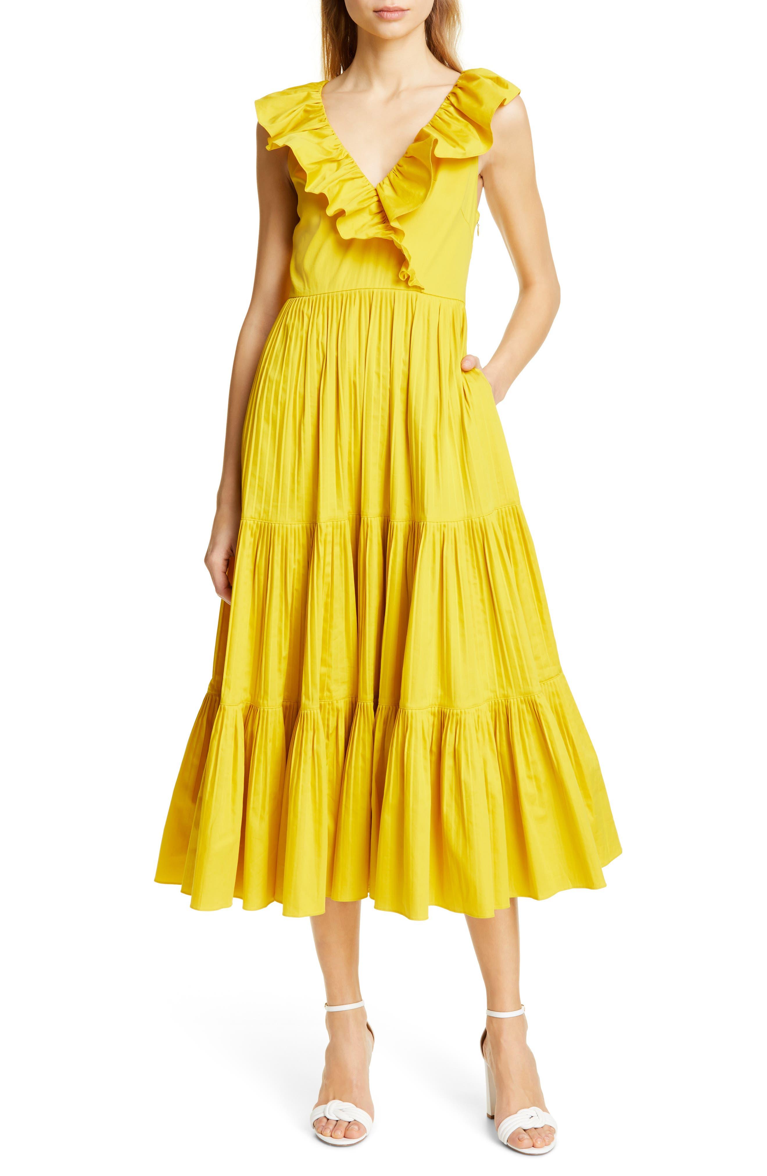 Kate Spade New York Tiered Poplin Dress, Yellow