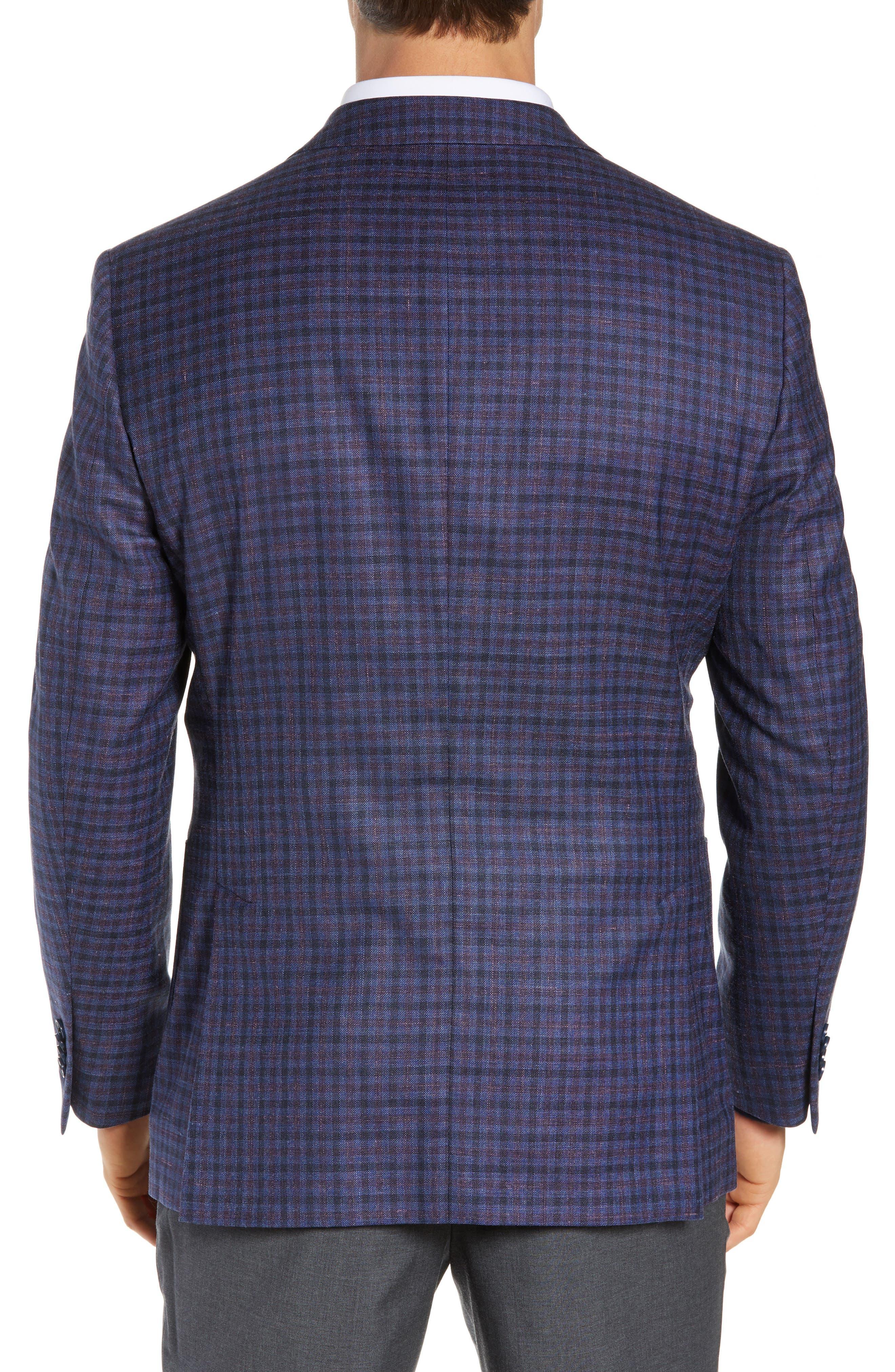 PETER MILLAR, Hyperlight Classic Fit Check Wool Blend Sport Coat, Alternate thumbnail 2, color, BLUE