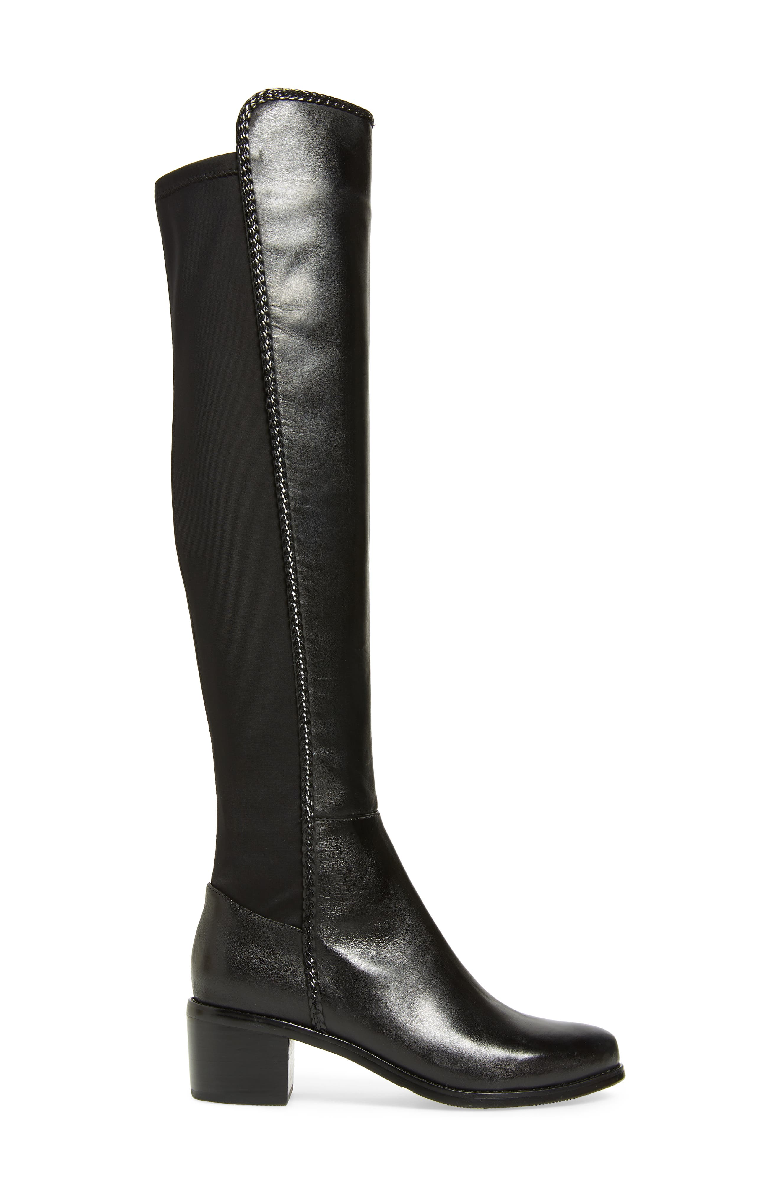 AQUADIVA, Florence Waterproof Over the Knee Boot, Alternate thumbnail 3, color, BLACK LEATHER