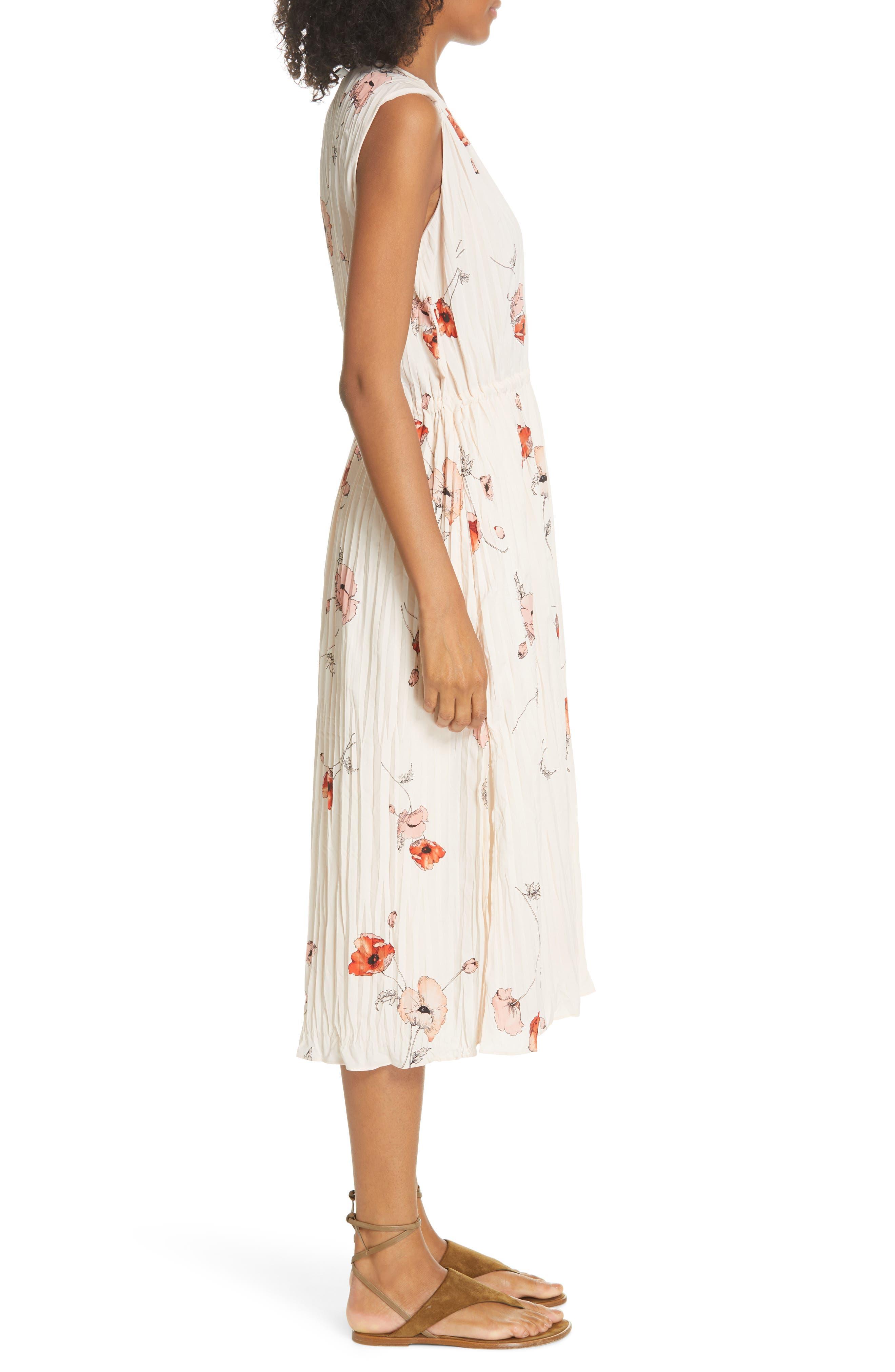VINCE, Tossed Poppy Pleated Midi Dress, Alternate thumbnail 4, color, PALE BLUSH