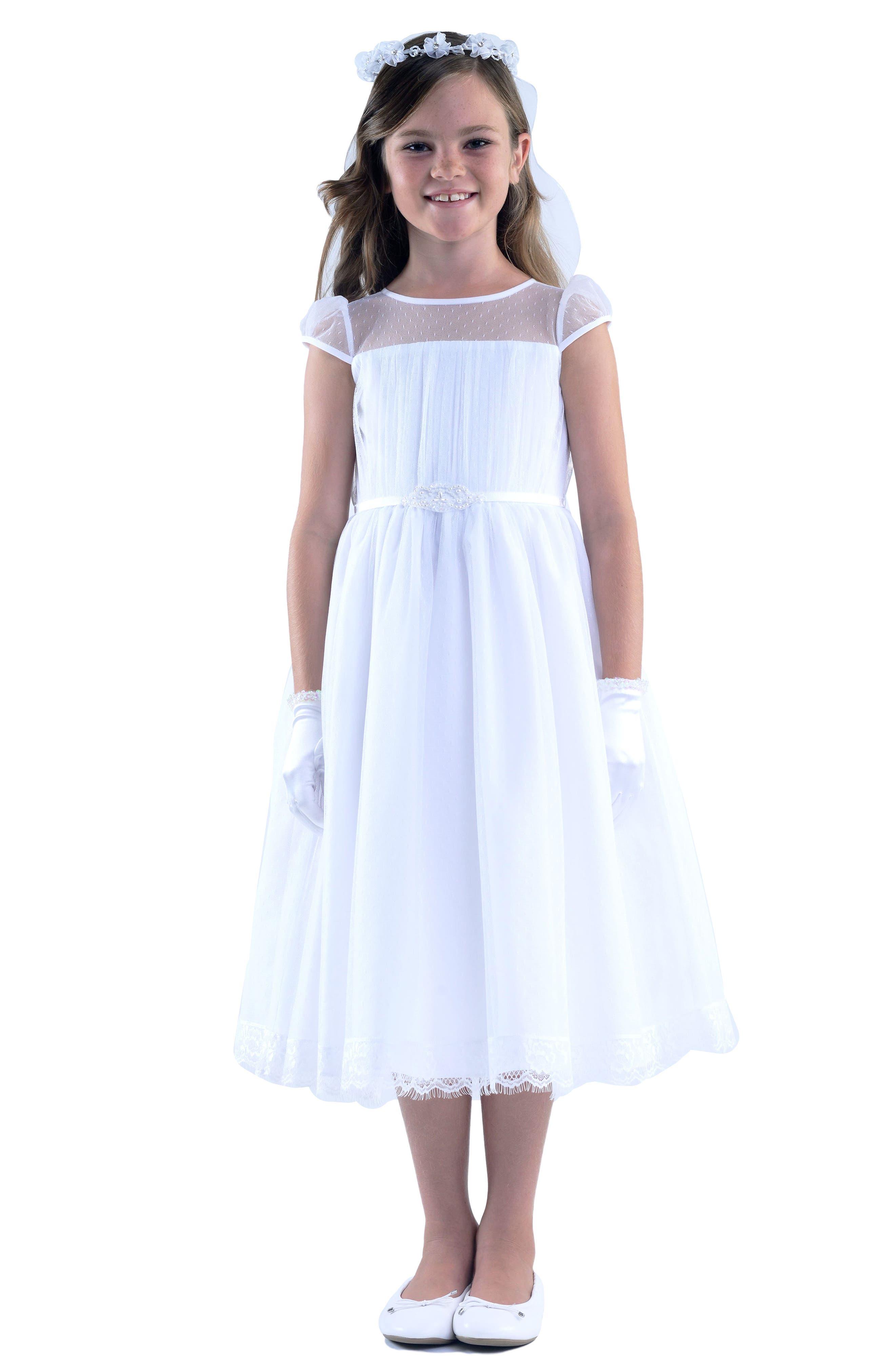 US ANGELS, Illusion Neckline Dress, Alternate thumbnail 2, color, WHITE