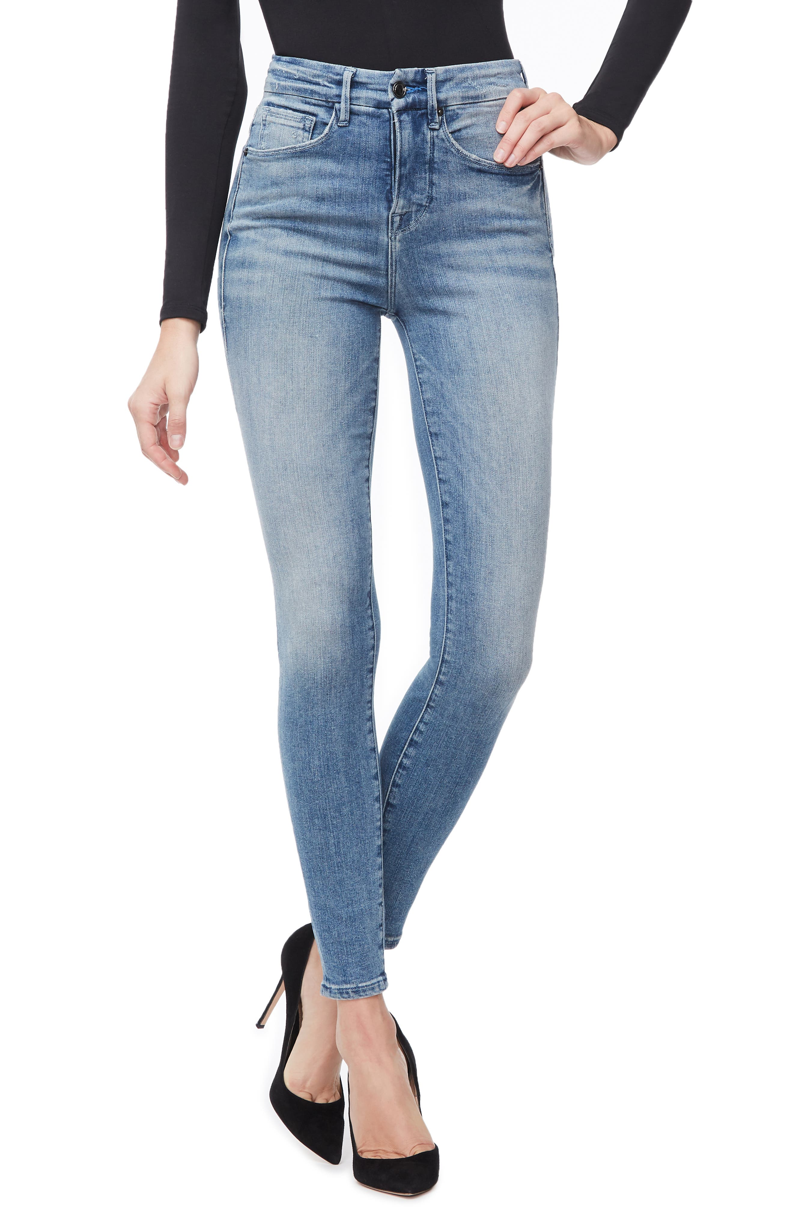 GOOD AMERICAN, Good Waist Ripped High Waist Skinny Jeans, Main thumbnail 1, color, BLUE262