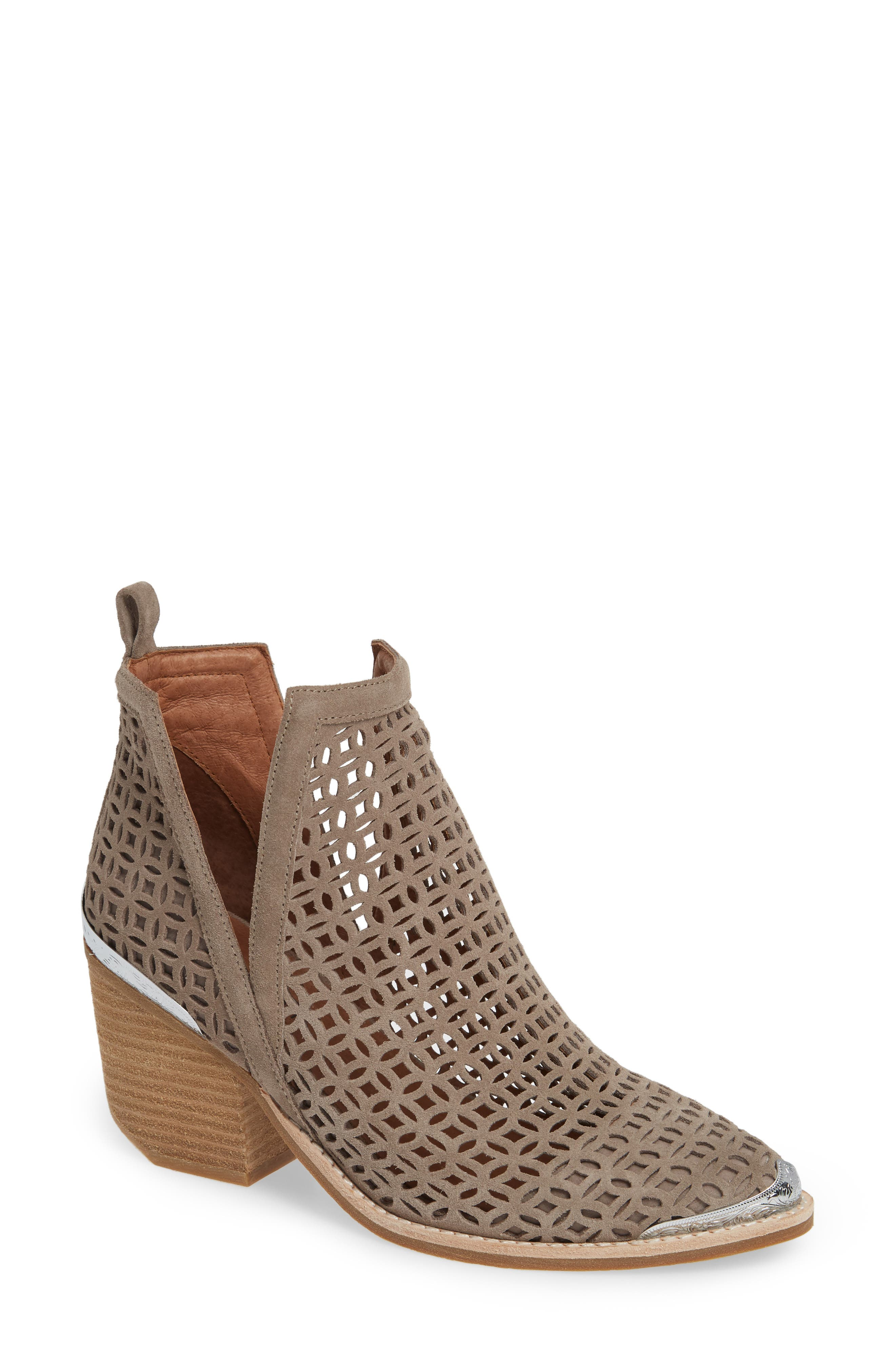 JEFFREY CAMPBELL, Cromwell-C2 Perforated Bootie, Main thumbnail 1, color, TAUPE SUEDE