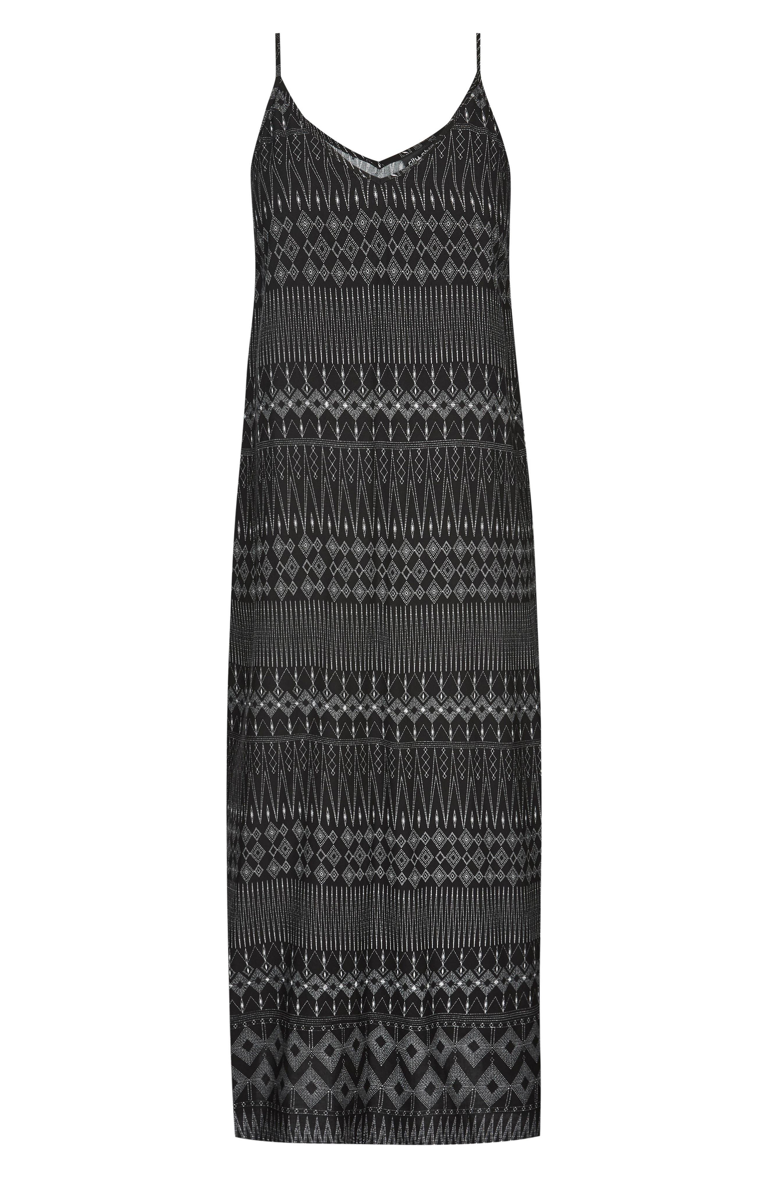 CITY CHIC, Safari Maxi Dress, Alternate thumbnail 3, color, BLACK PRINT