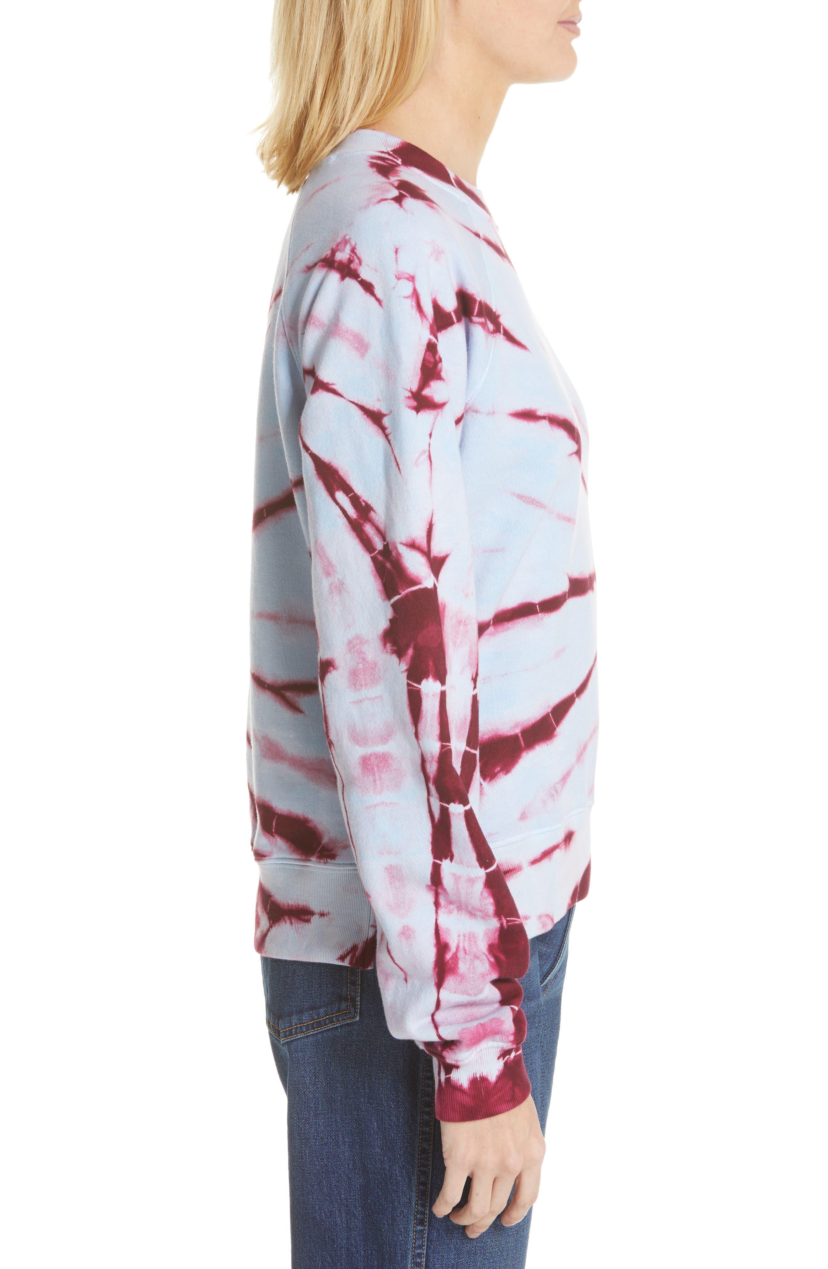 PROENZA SCHOULER, PSWL Tie Dye Sweatshirt, Alternate thumbnail 3, color, BABY BLUE/ RED TIE DYE