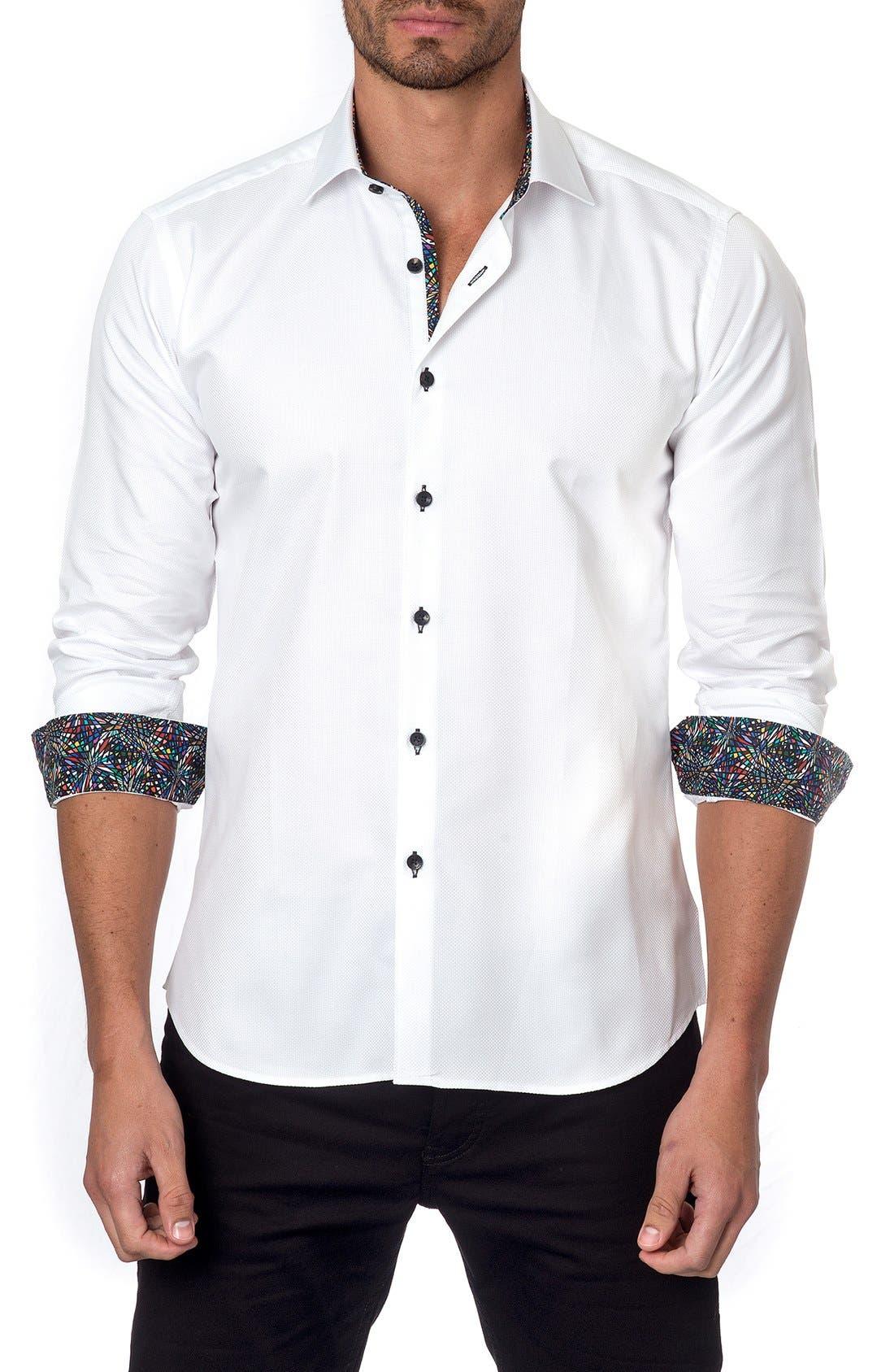 JARED LANG, Trim Fit Sport Shirt, Main thumbnail 1, color, 100