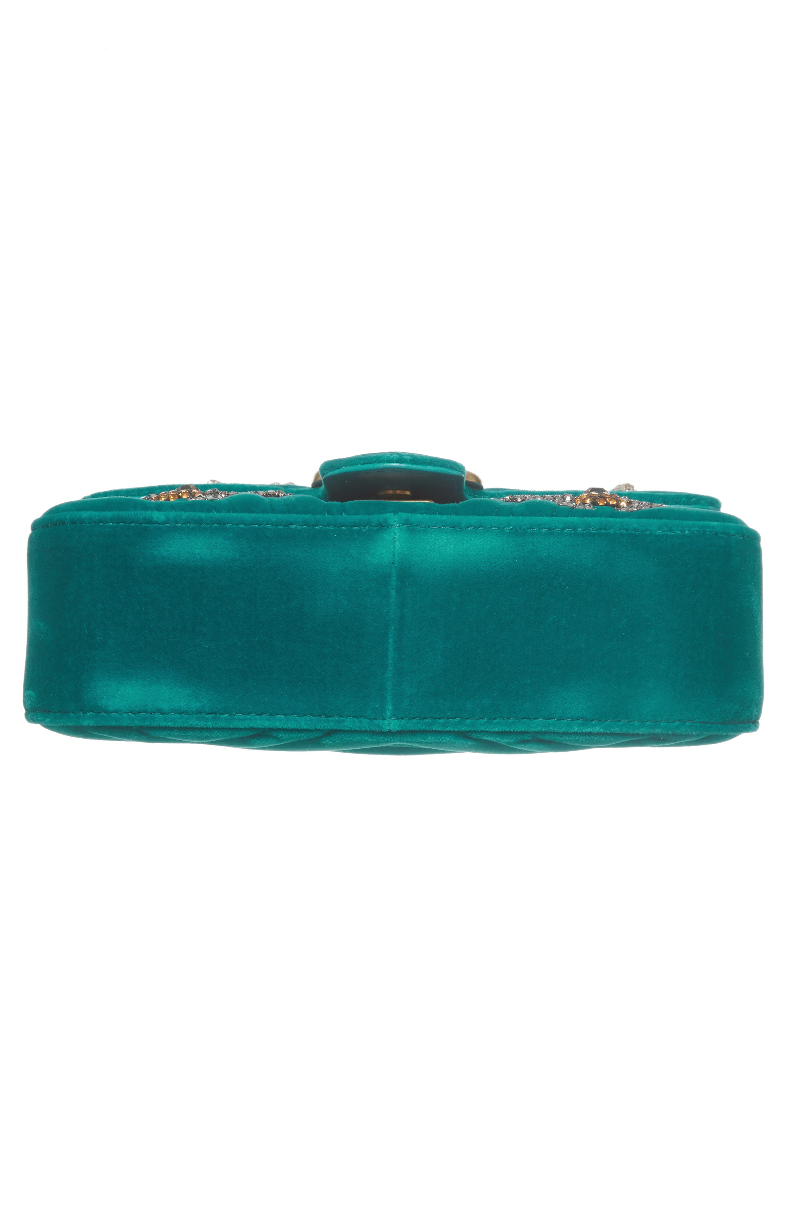 GUCCI, Mini GG Marmont Matelassé Velvet Shoulder Bag, Alternate thumbnail 6, color, PIVONE
