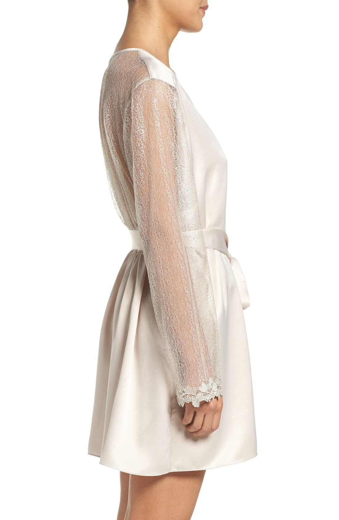 FLORA NIKROOZ, Showstopper Robe, Alternate thumbnail 3, color, CHAMPAGNE