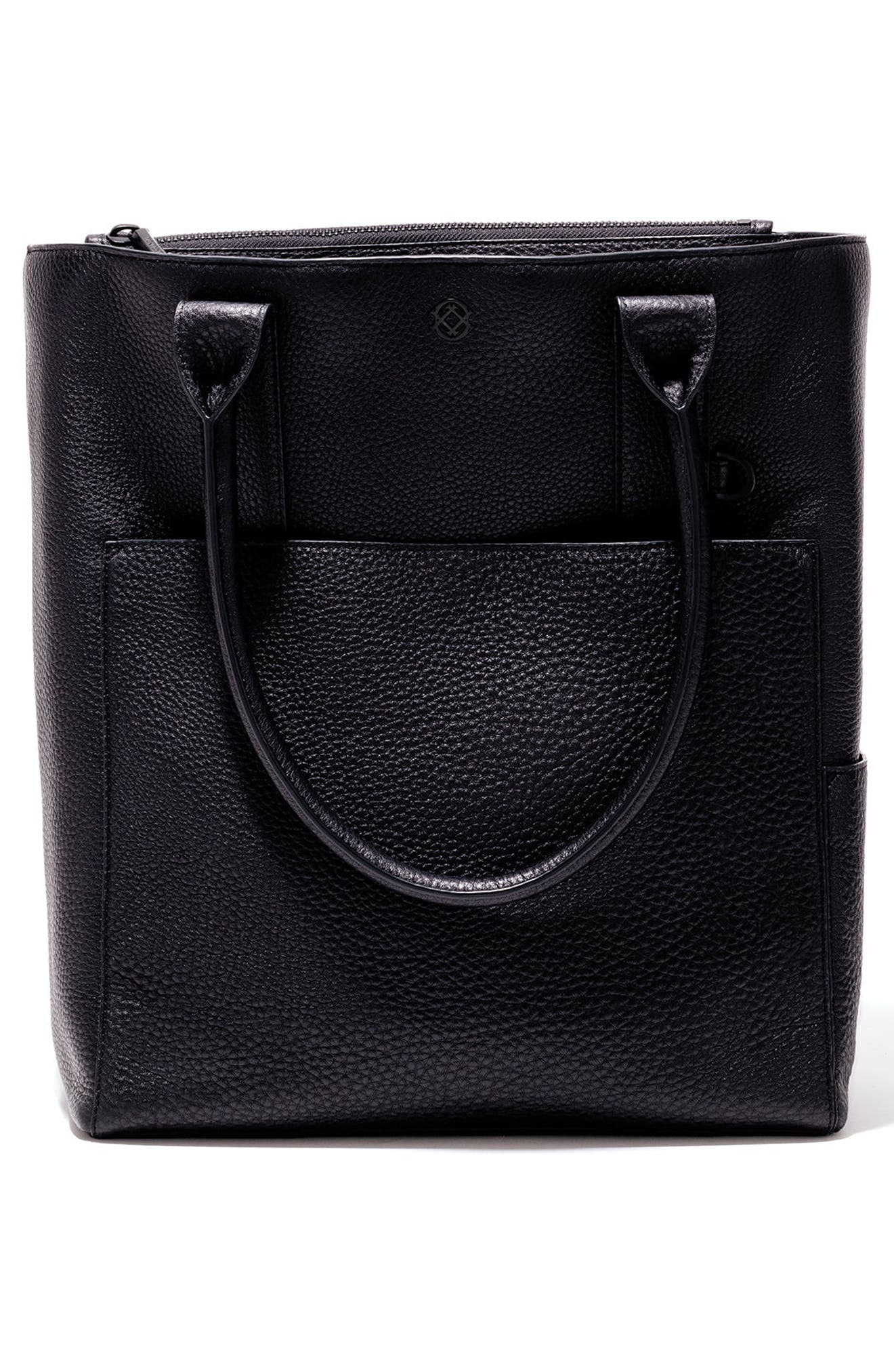 DAGNE DOVER, Charlie Leather Tote, Alternate thumbnail 2, color, ONYX