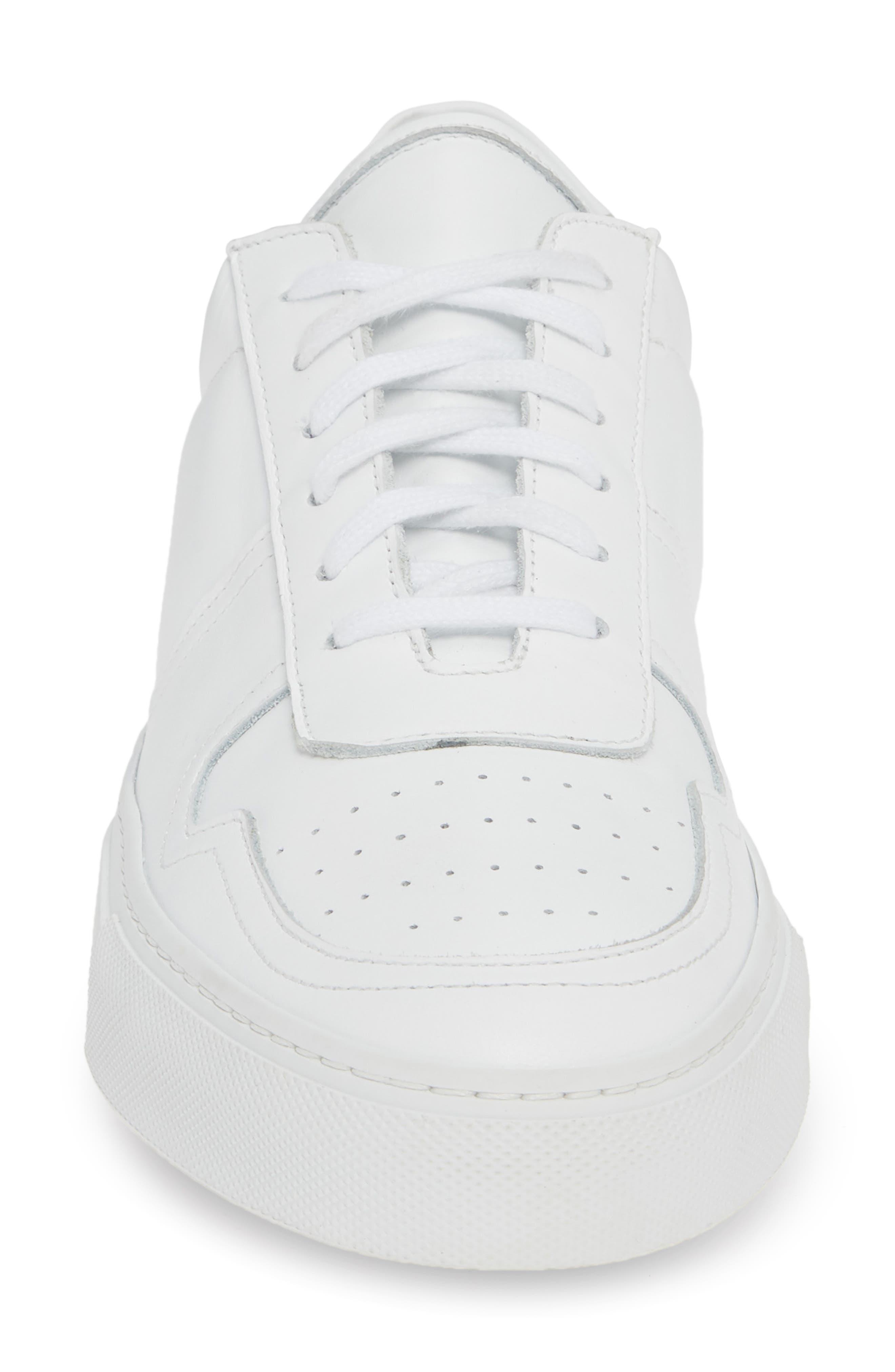 COMMON PROJECTS, Bball Low Top Sneaker, Alternate thumbnail 4, color, WHITE
