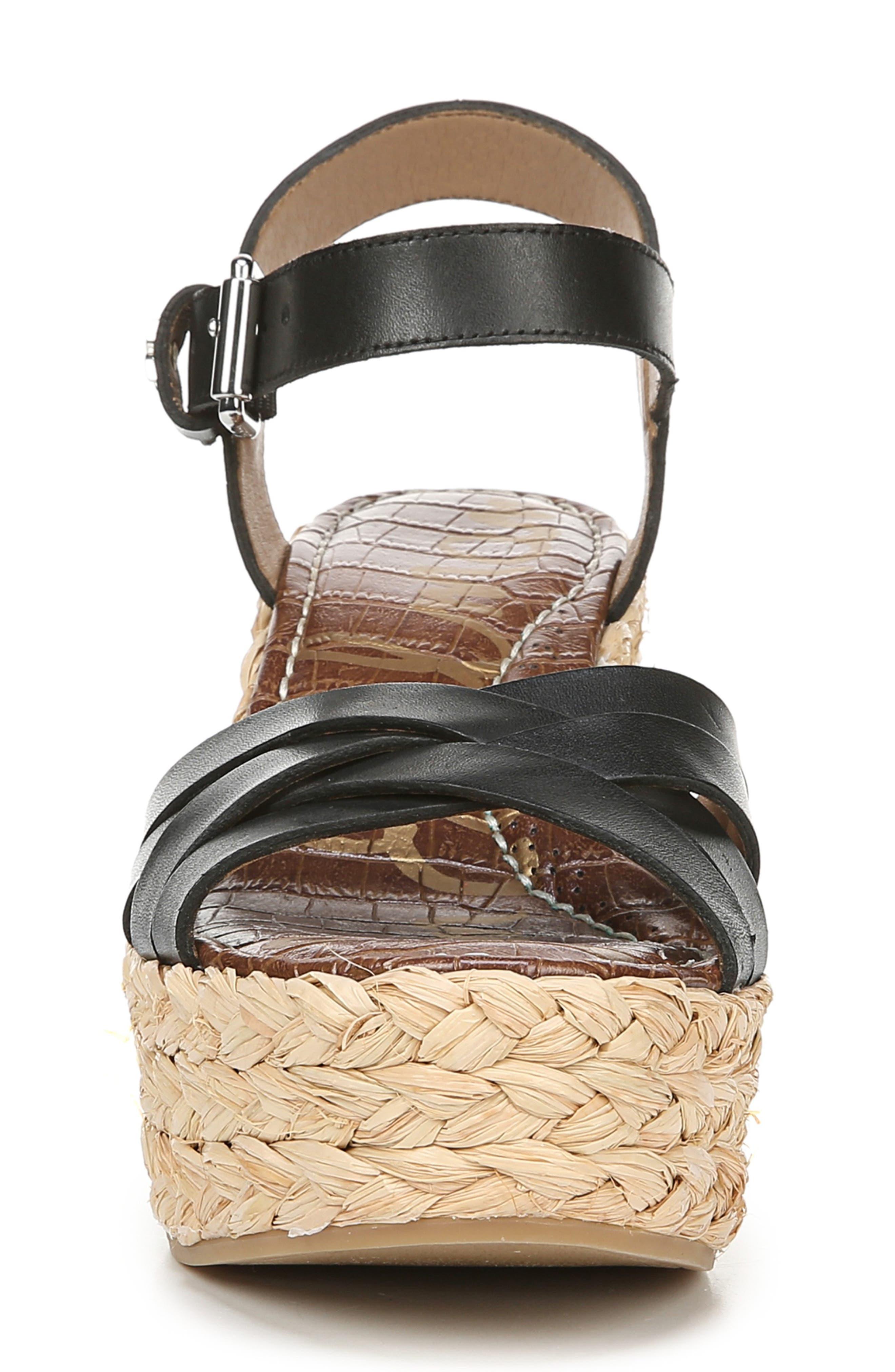 SAM EDELMAN, Darline Platform Wedge Sandal, Alternate thumbnail 3, color, BLACK LEATHER