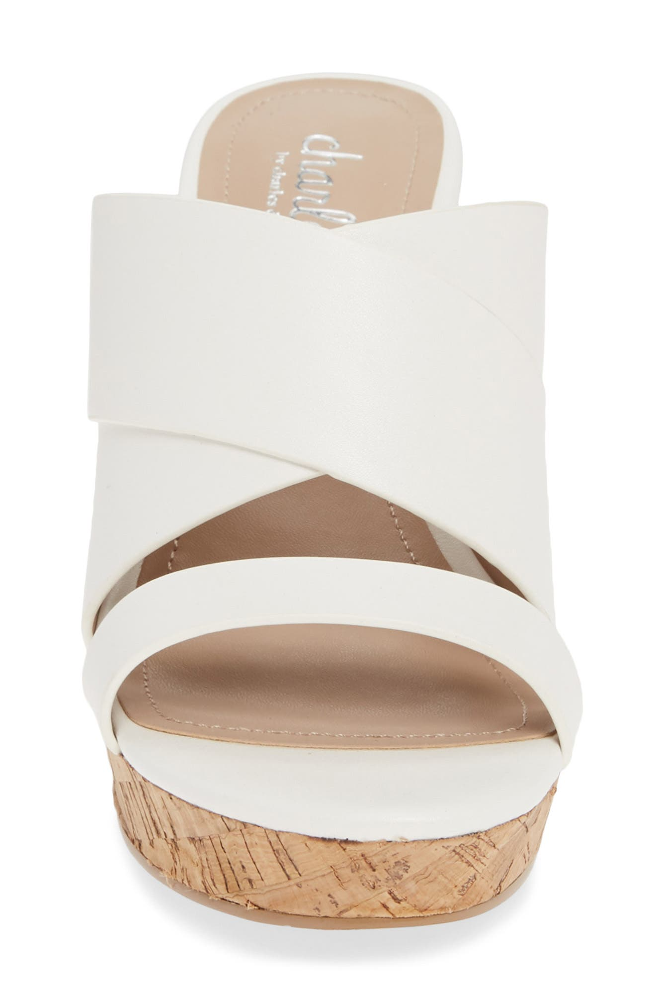 CHARLES BY CHARLES DAVID, Leslie Wedge Sandal, Alternate thumbnail 4, color, WHITE FAUX LEATHER