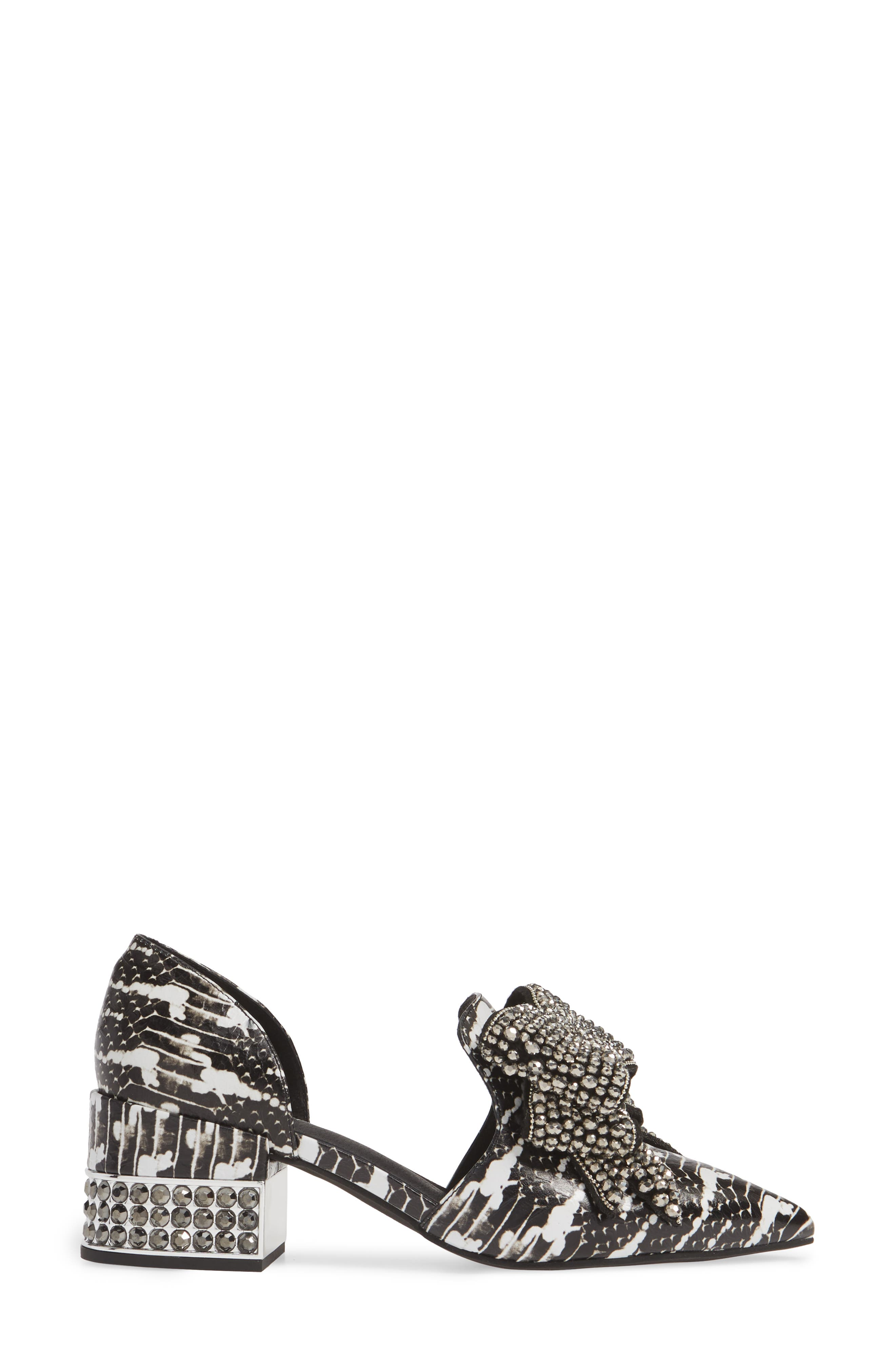 JEFFREY CAMPBELL, Valenti Embellished Bow Loafer, Alternate thumbnail 3, color, BLACK/WHITE/PEWTER