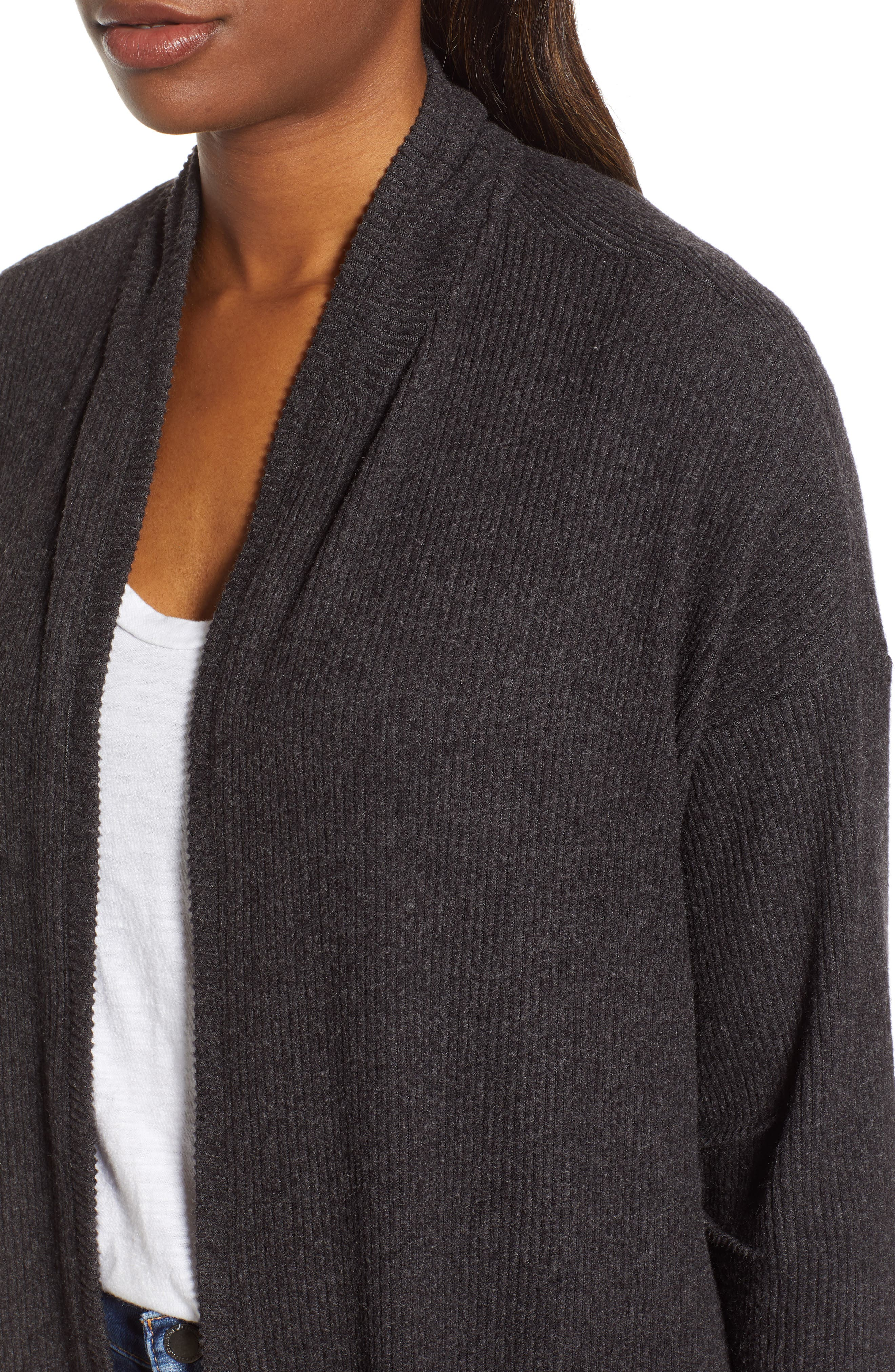 WIT & WISDOM, Ribbed Open Cardigan, Alternate thumbnail 4, color, CHARCOAL