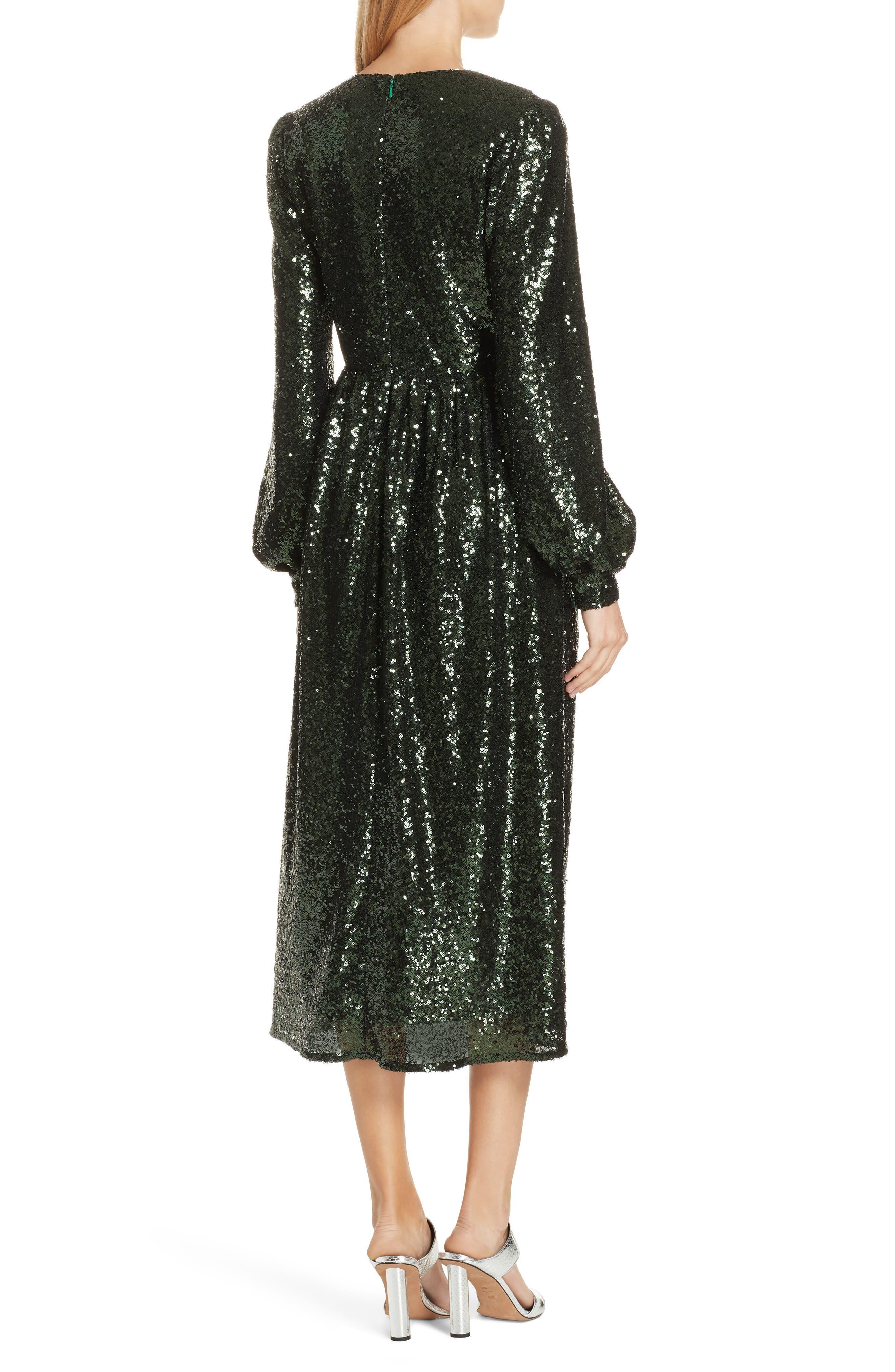 SALONI, Camille Sequin Midi Dress, Alternate thumbnail 2, color, DARK GREEN