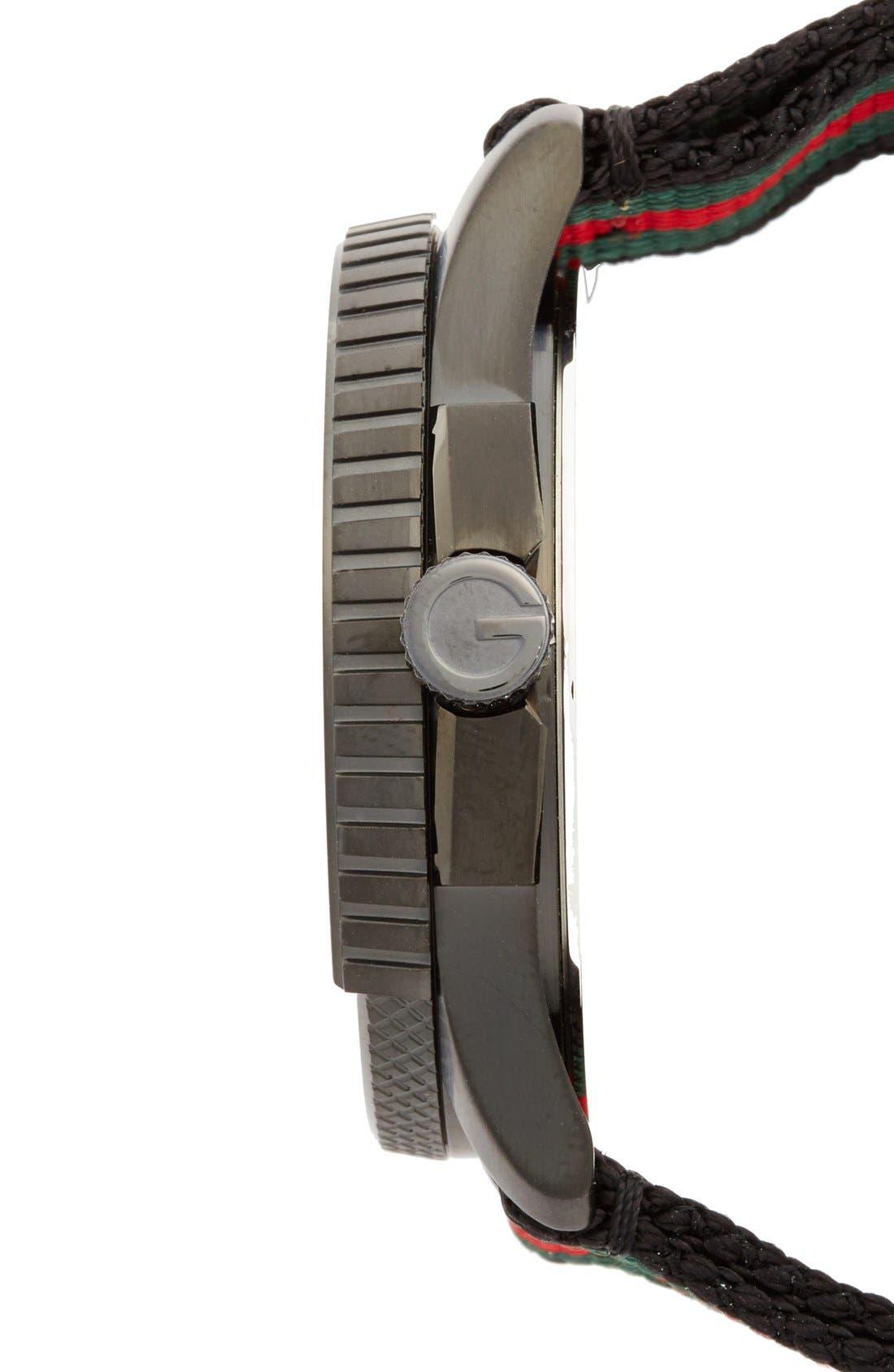 GUCCI, 'G Timeless' Nylon Strap Watch, 44mm, Alternate thumbnail 5, color, 001
