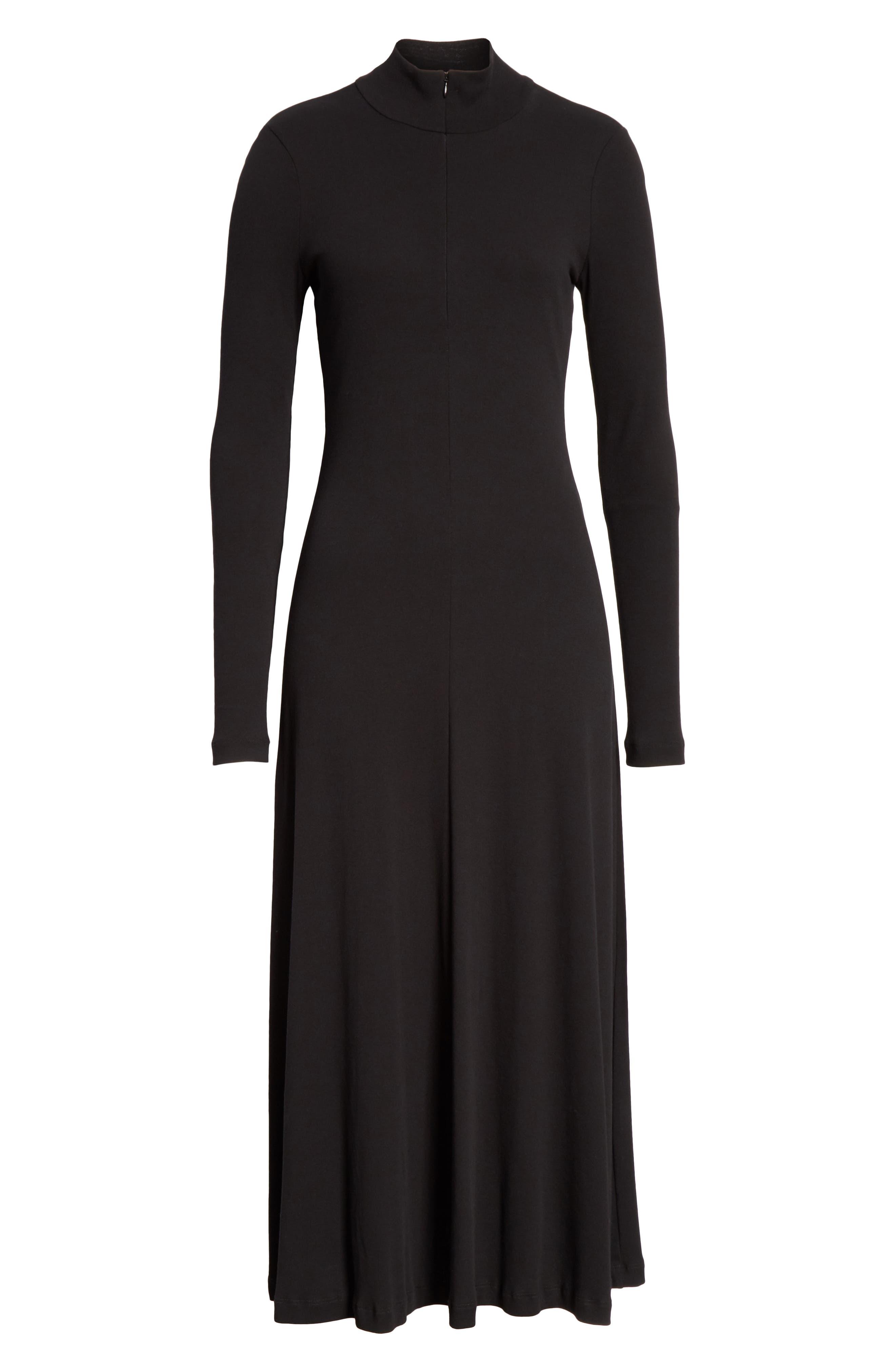 ROSETTA GETTY, Turtleneck Jersey Dress, Alternate thumbnail 6, color, BLACK