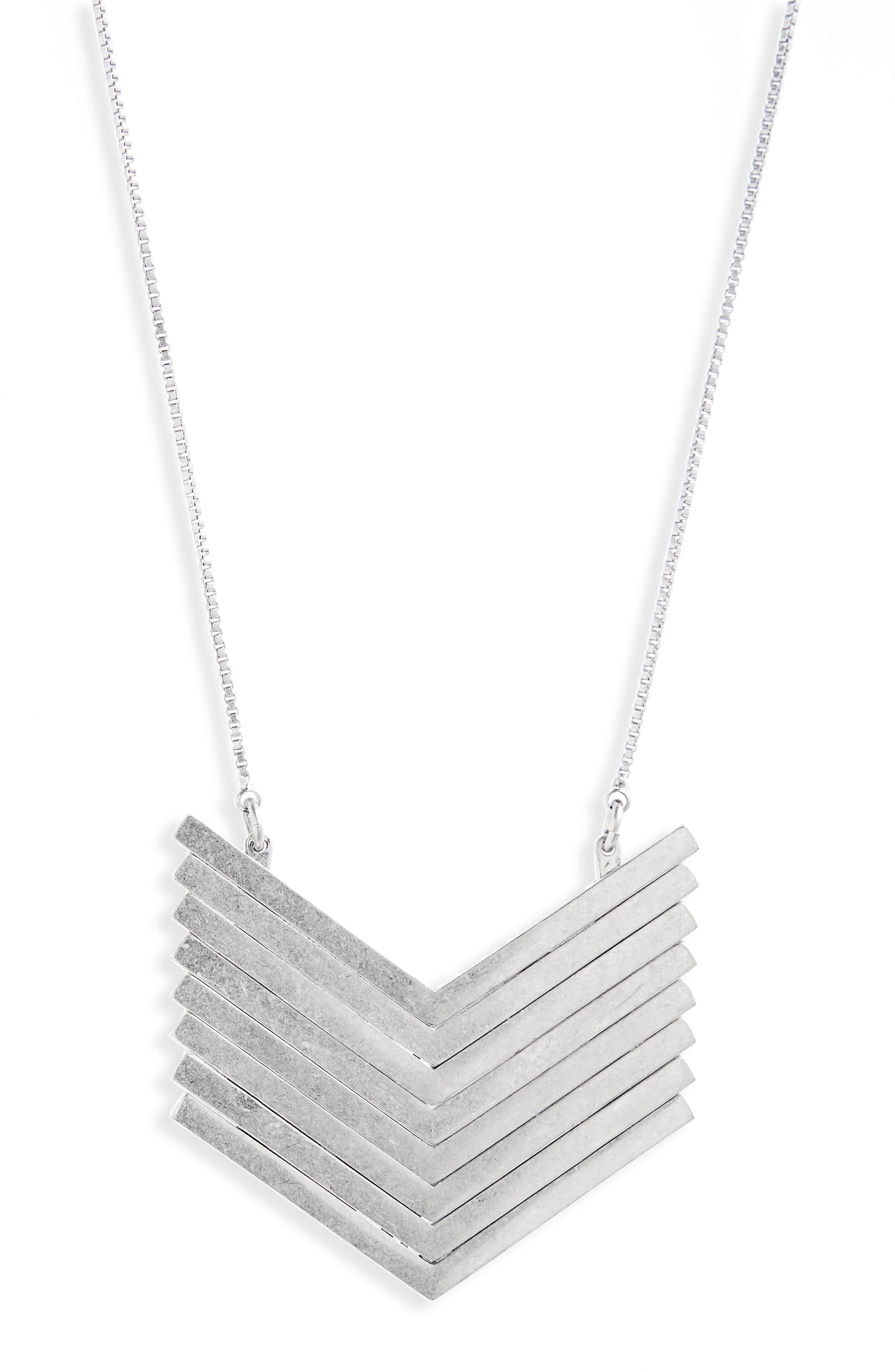 MADEWELL Arrowstack Necklace, Main, color, LIGHT SILVER OX