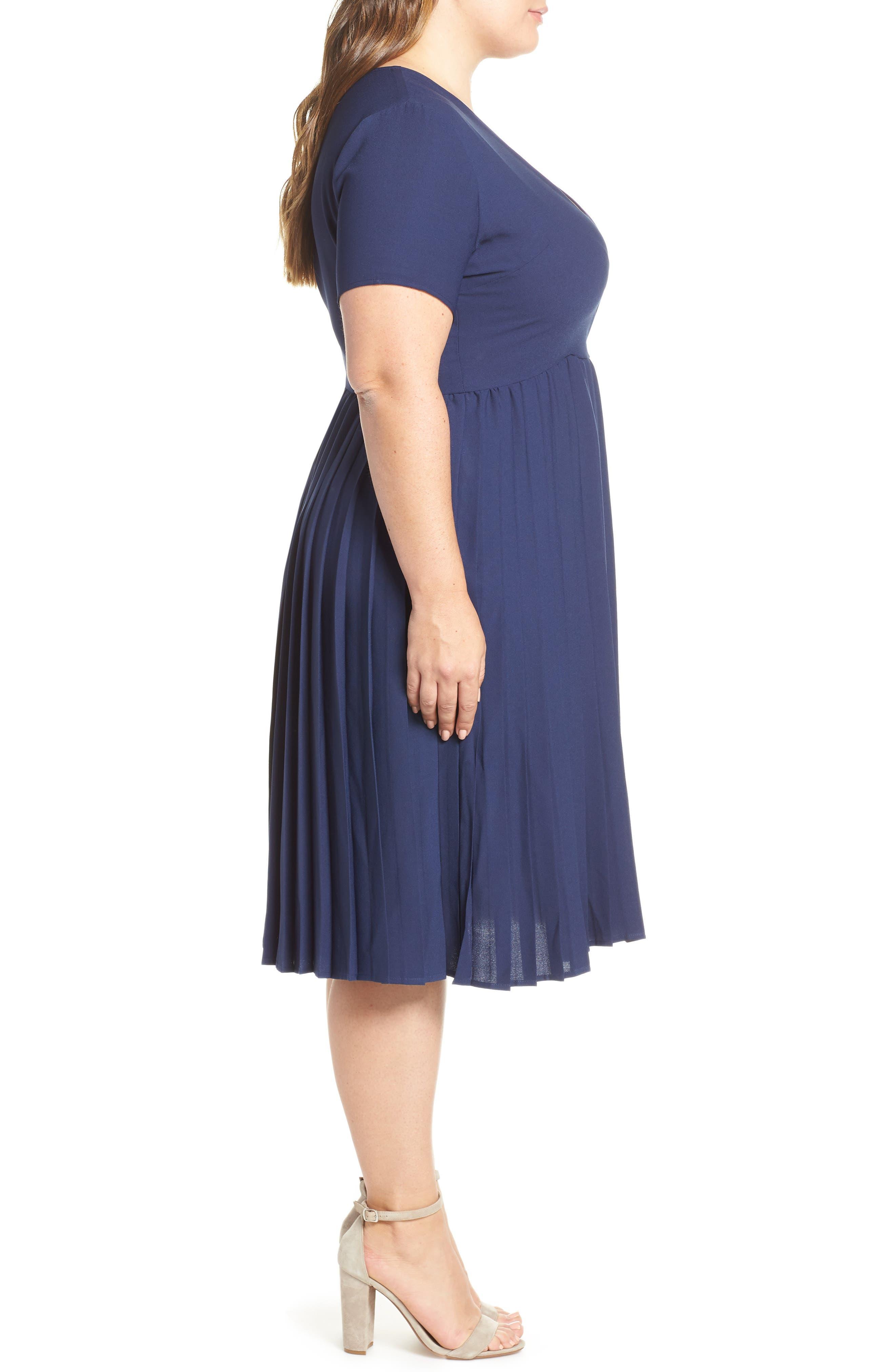 LEITH, Pleated Surplice Dress, Alternate thumbnail 10, color, NAVY PEACOAT