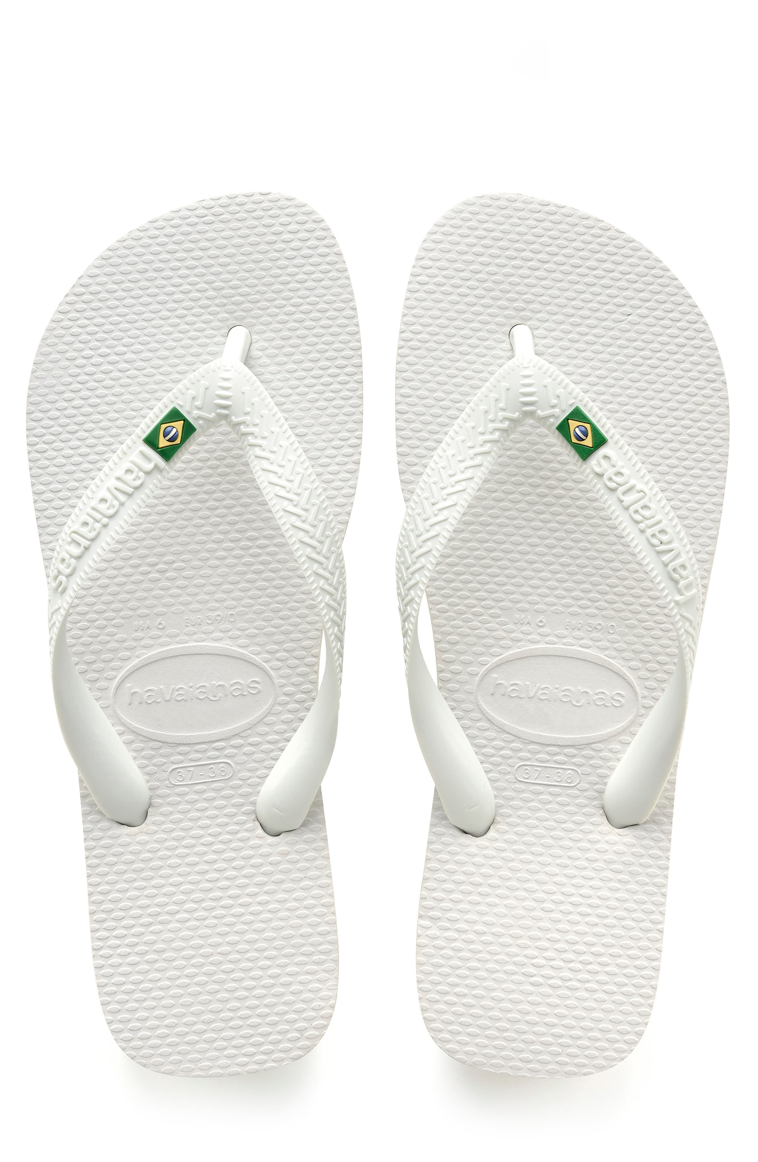 HAVAIANAS 'Brazil' Flip Flop, Main, color, WHITE
