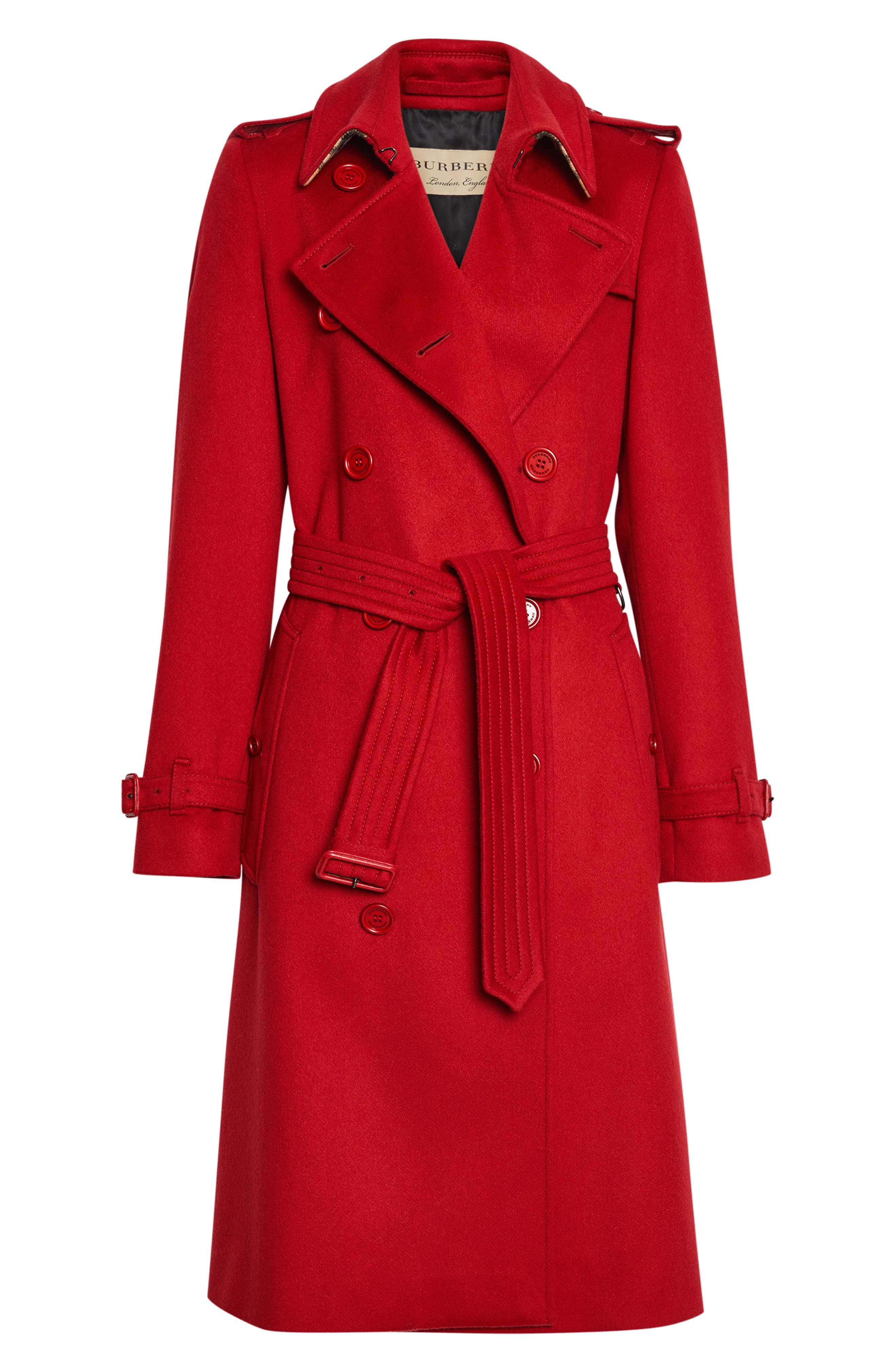 BURBERRY, Kensington Cashmere Trench Coat, Alternate thumbnail 5, color, PARADE RED