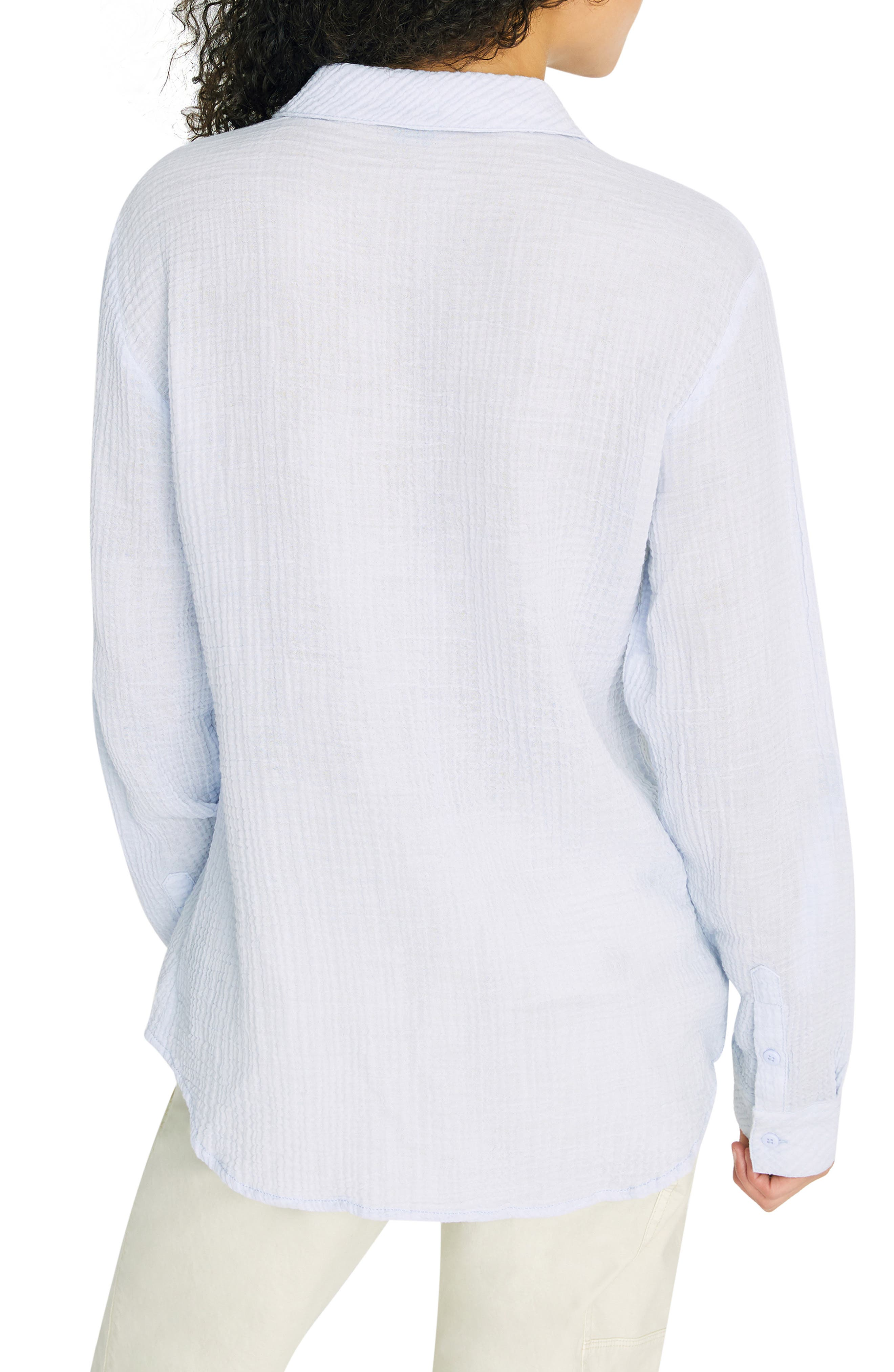 SANCTUARY, Steady Boyfriend Roll Tab Shirt, Alternate thumbnail 2, color, WASHED PERIWINKLE