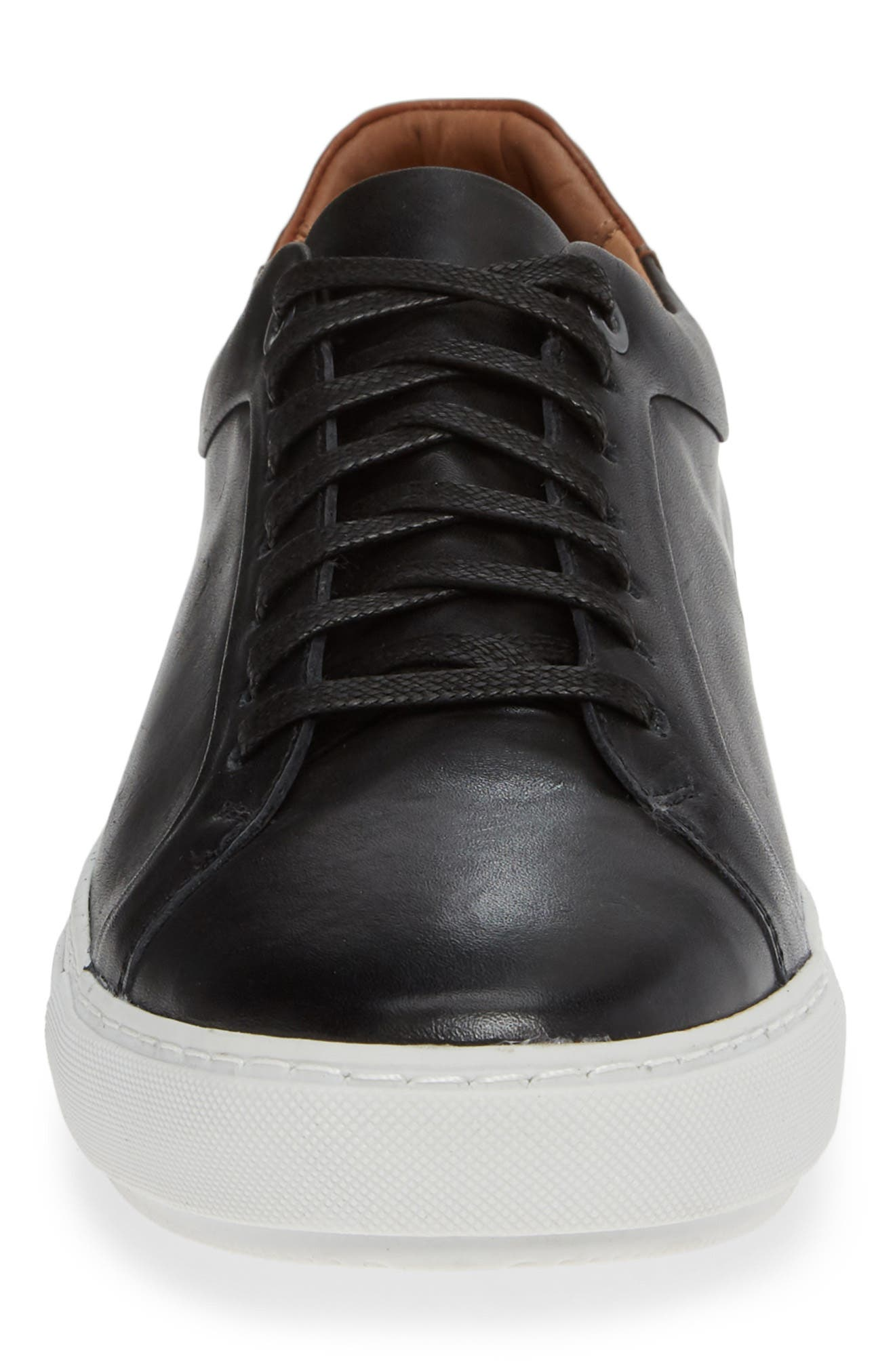 NORDSTROM MEN'S SHOP, Zack Sneaker, Alternate thumbnail 4, color, BLACK LEATHER