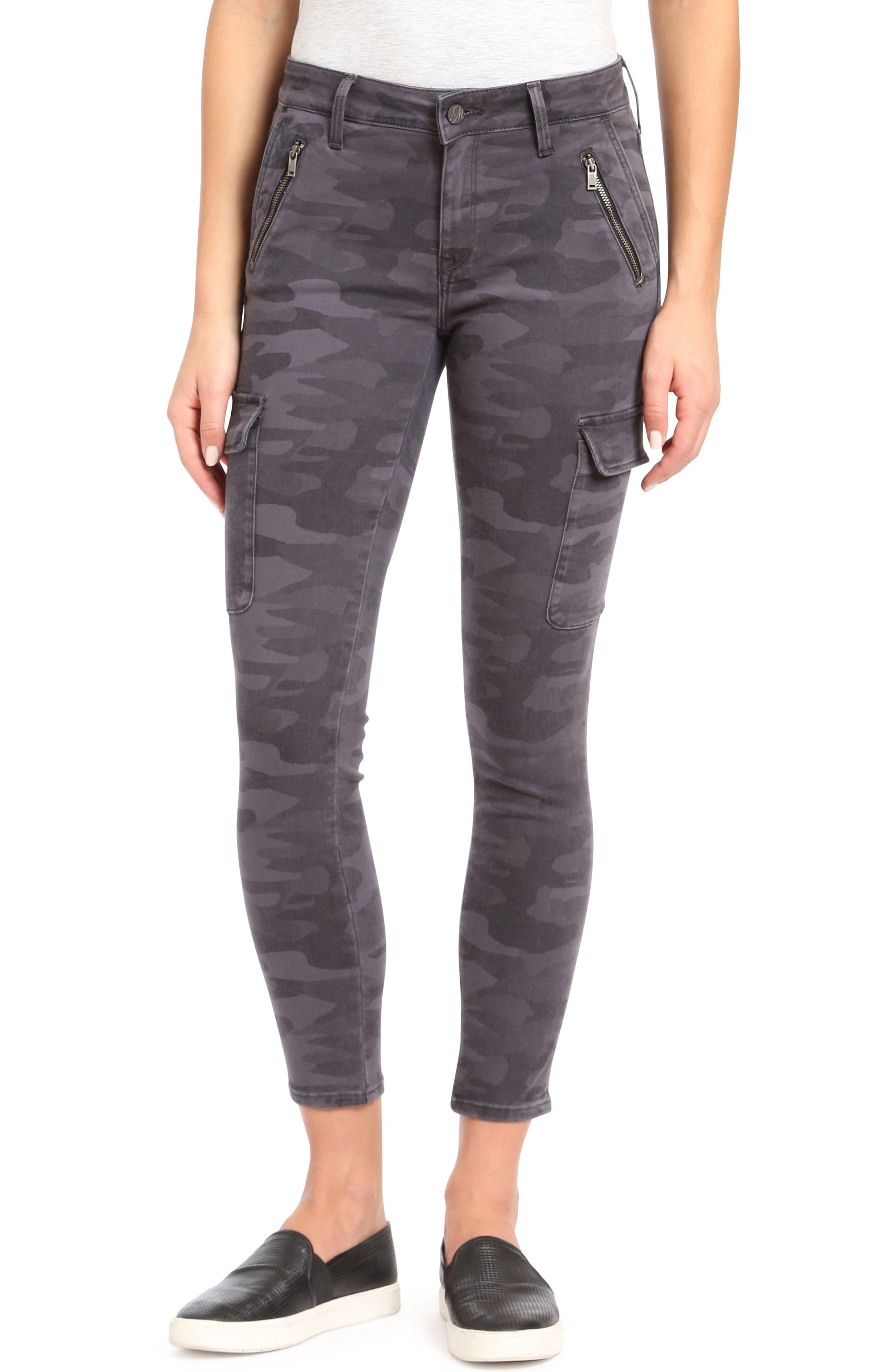 Mavi Jeans Juliette Camo Skinny Cargo Pants, Grey