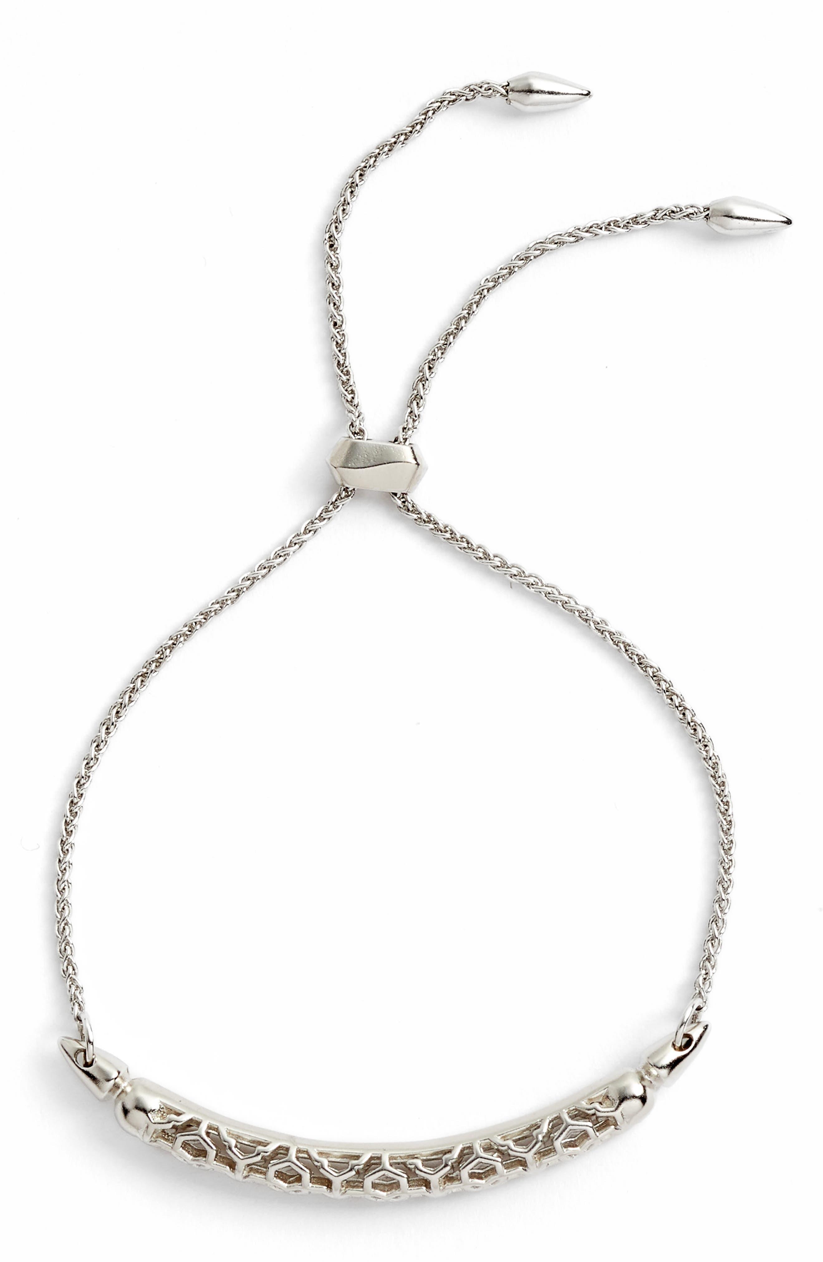 KENDRA SCOTT, Gilly Adjustable Bracelet, Main thumbnail 1, color, SILVER FILIGREE