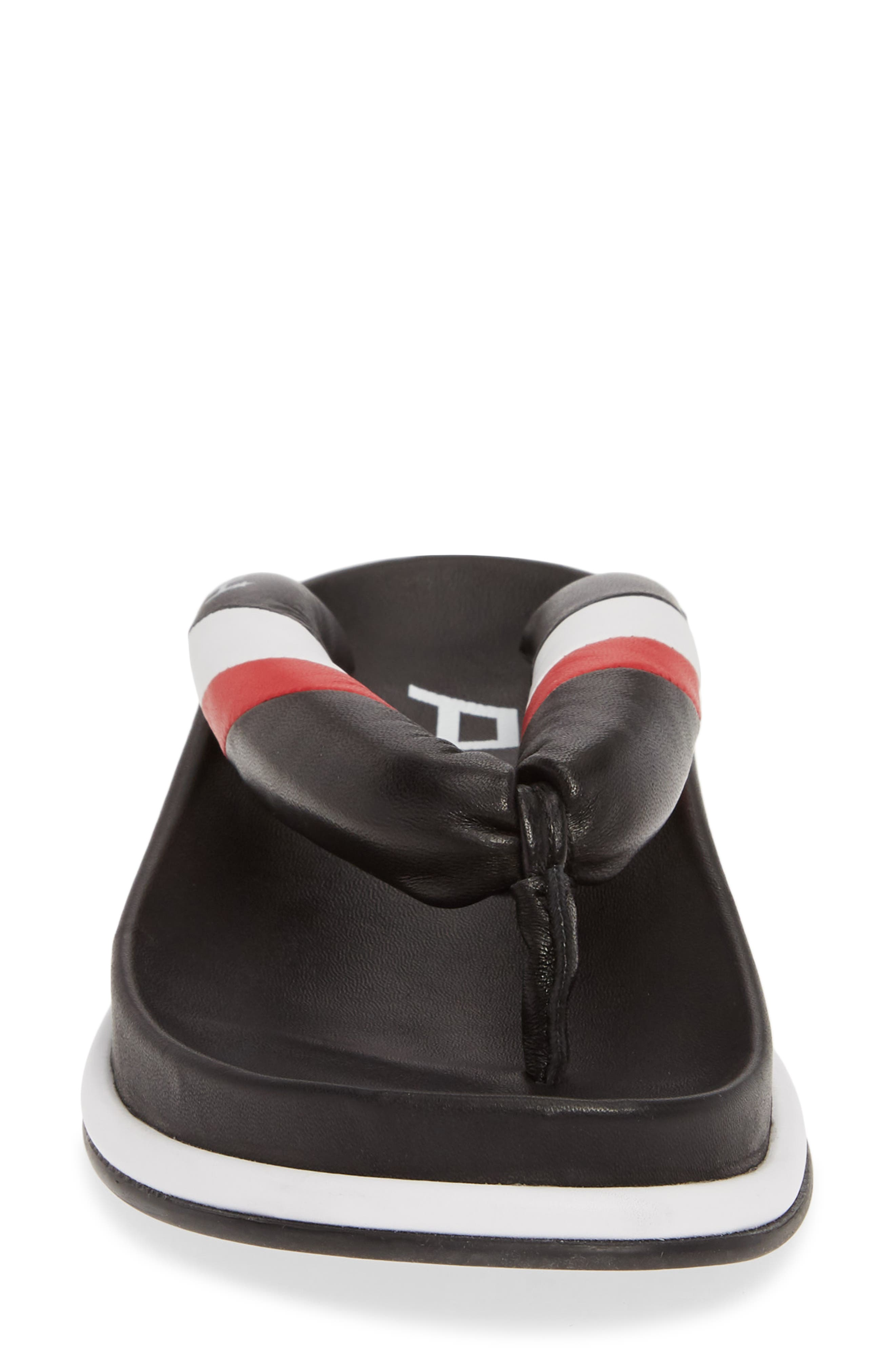 ASH, Tonic Stripe Logo Flip Flop, Alternate thumbnail 4, color, BLACK