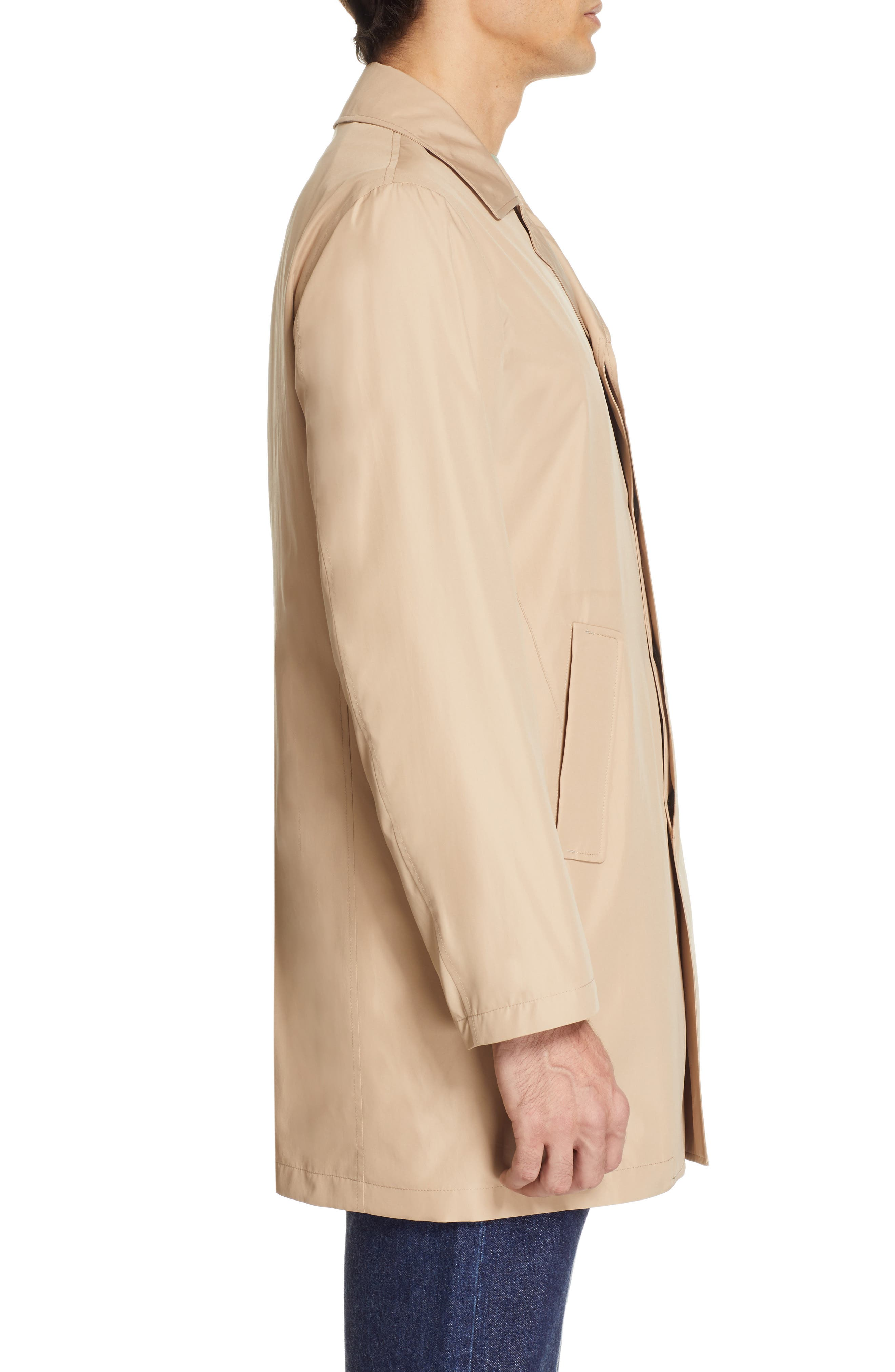 CANALI, Lightweight Overcoat, Alternate thumbnail 4, color, BEIGE