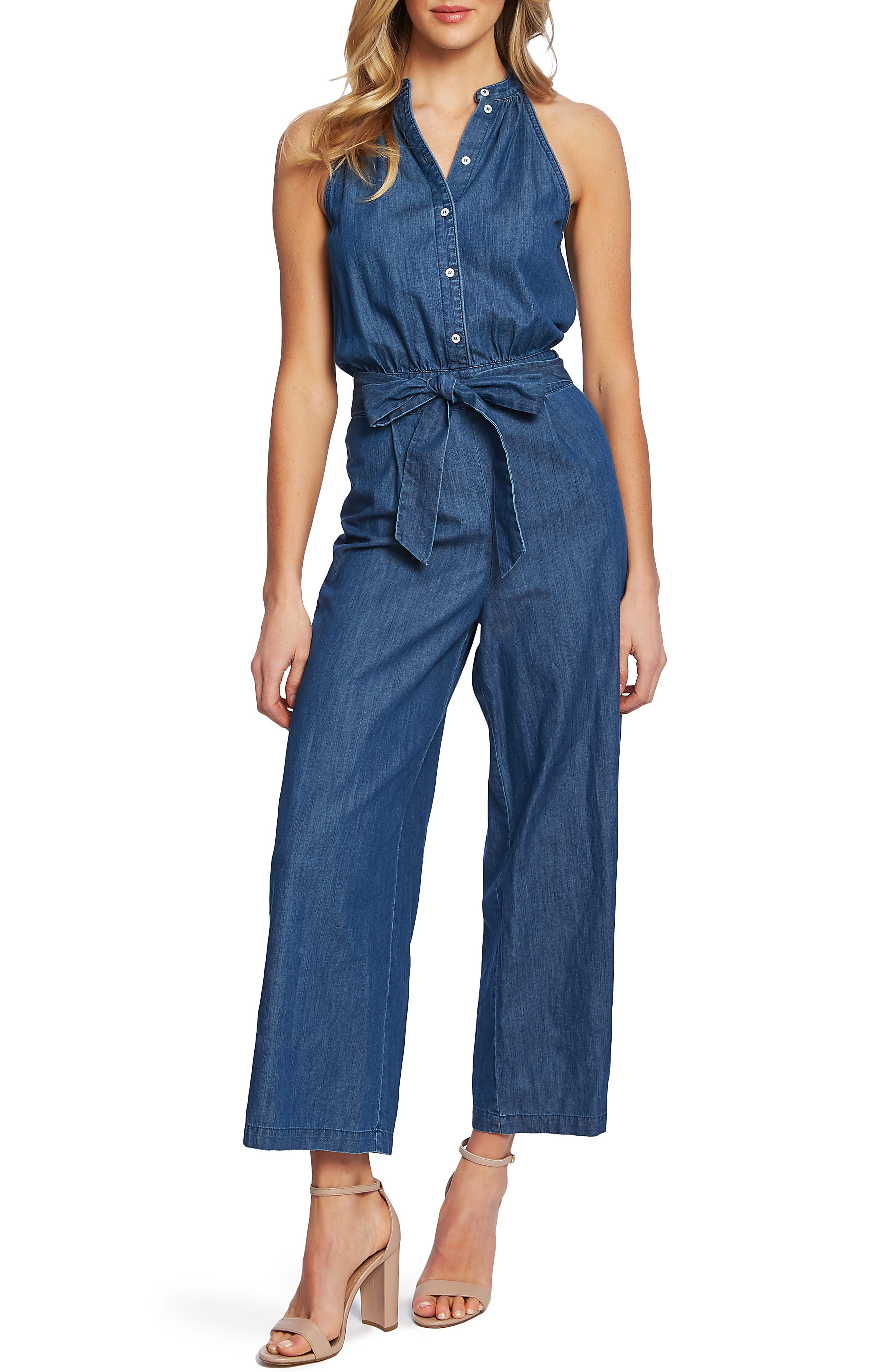 Cece Sleeveless Belted Jumpsuit, Blue