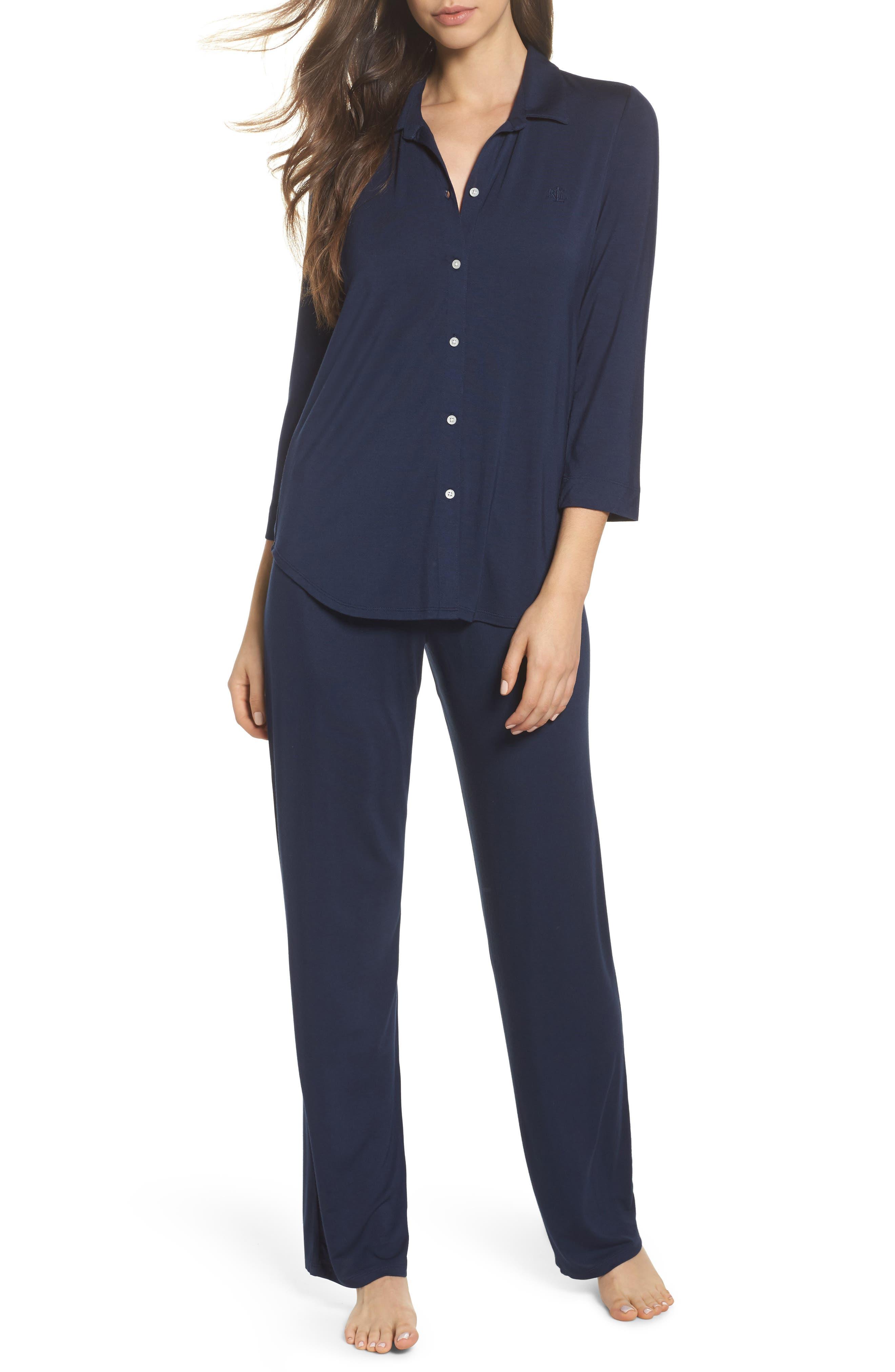 LAUREN RALPH LAUREN Jersey Pajamas, Main, color, SPRING NAVY