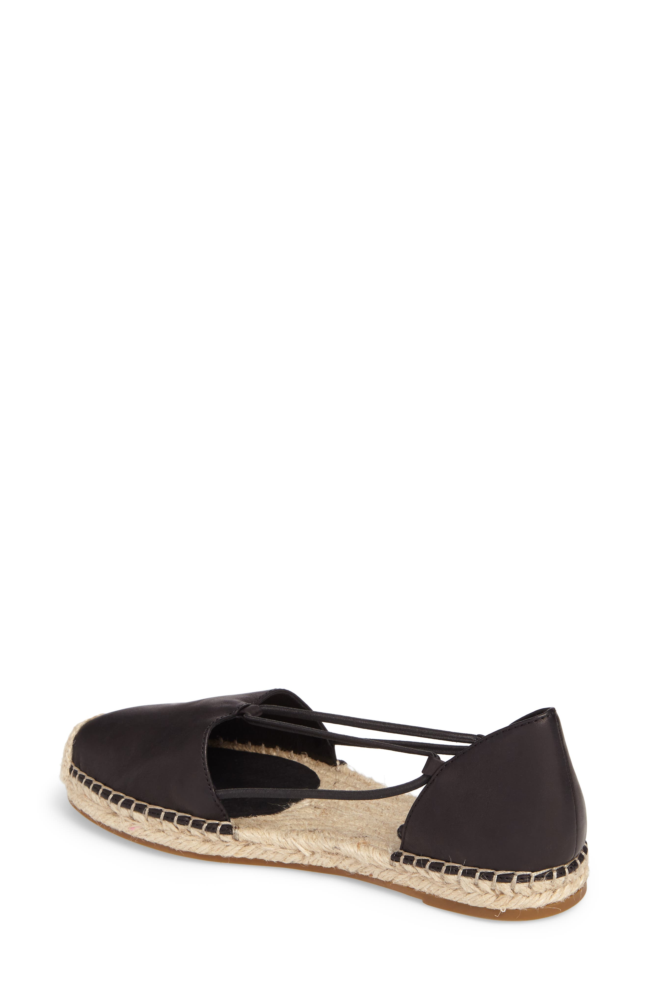 EILEEN FISHER, Lee Espadrille Flat, Alternate thumbnail 2, color, BLACK WASHED LEATHER