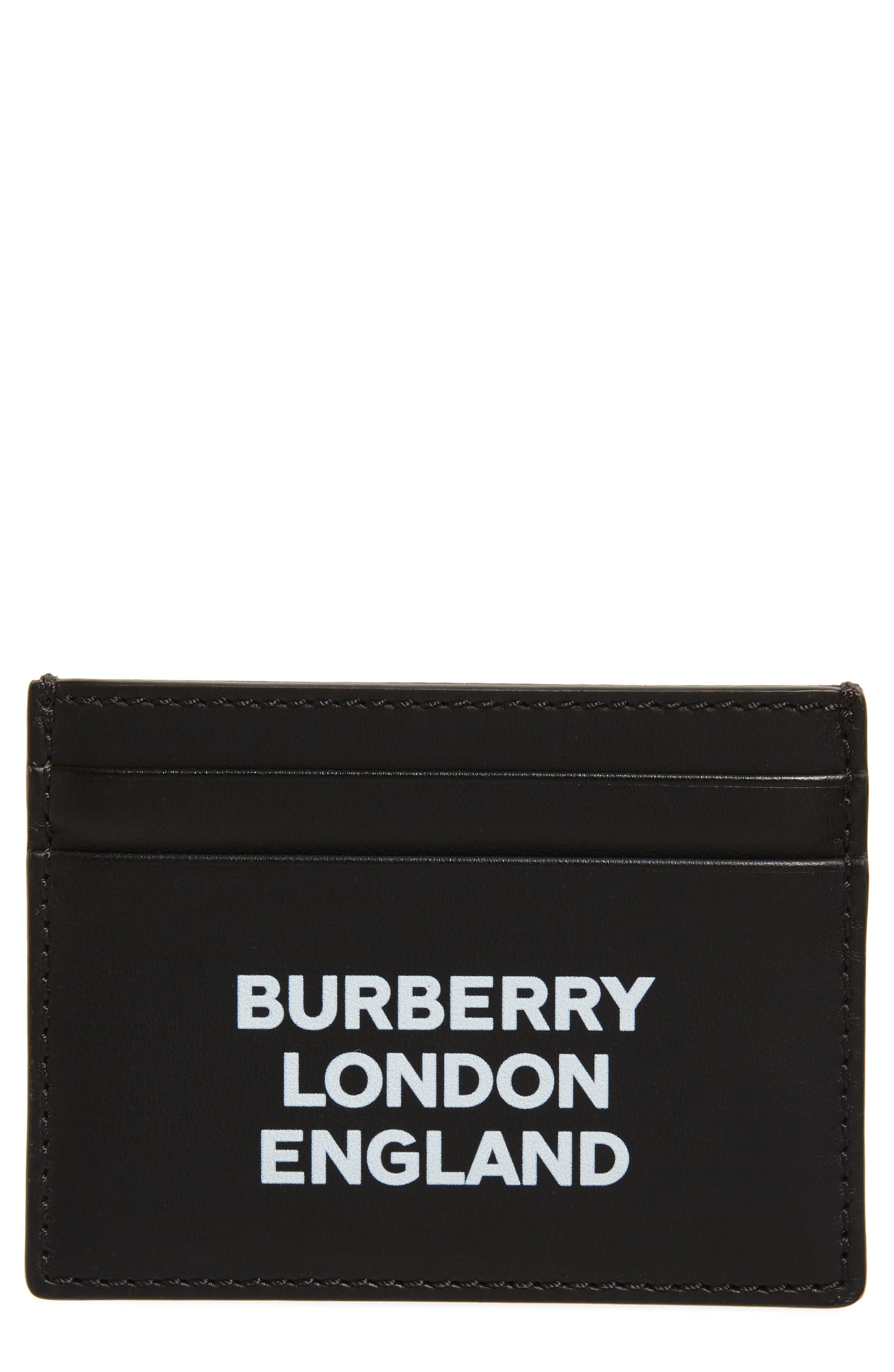 BURBERRY, Sandon Logo Leather Card Case, Main thumbnail 1, color, BLACK