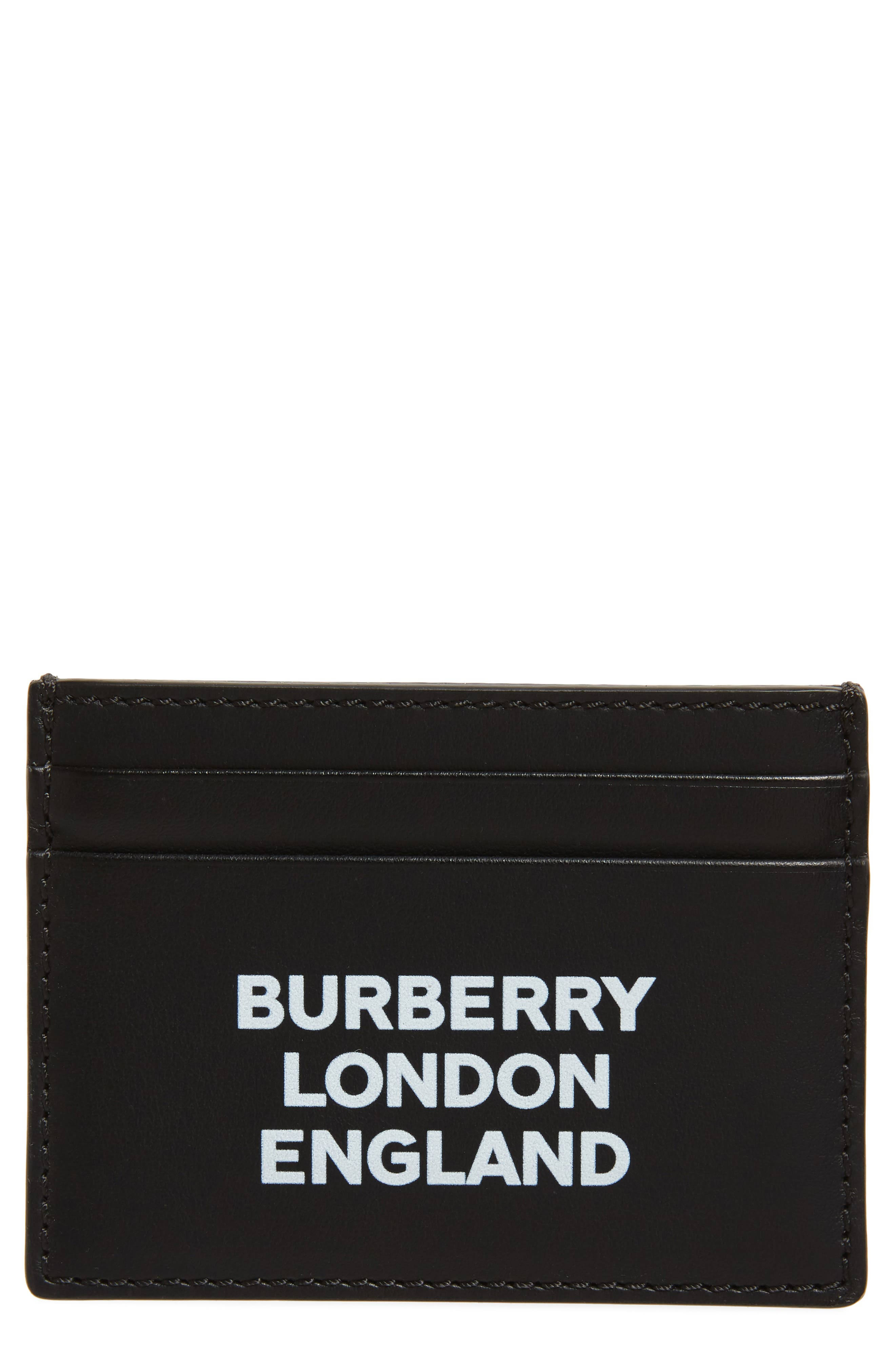 BURBERRY Sandon Logo Leather Card Case, Main, color, BLACK
