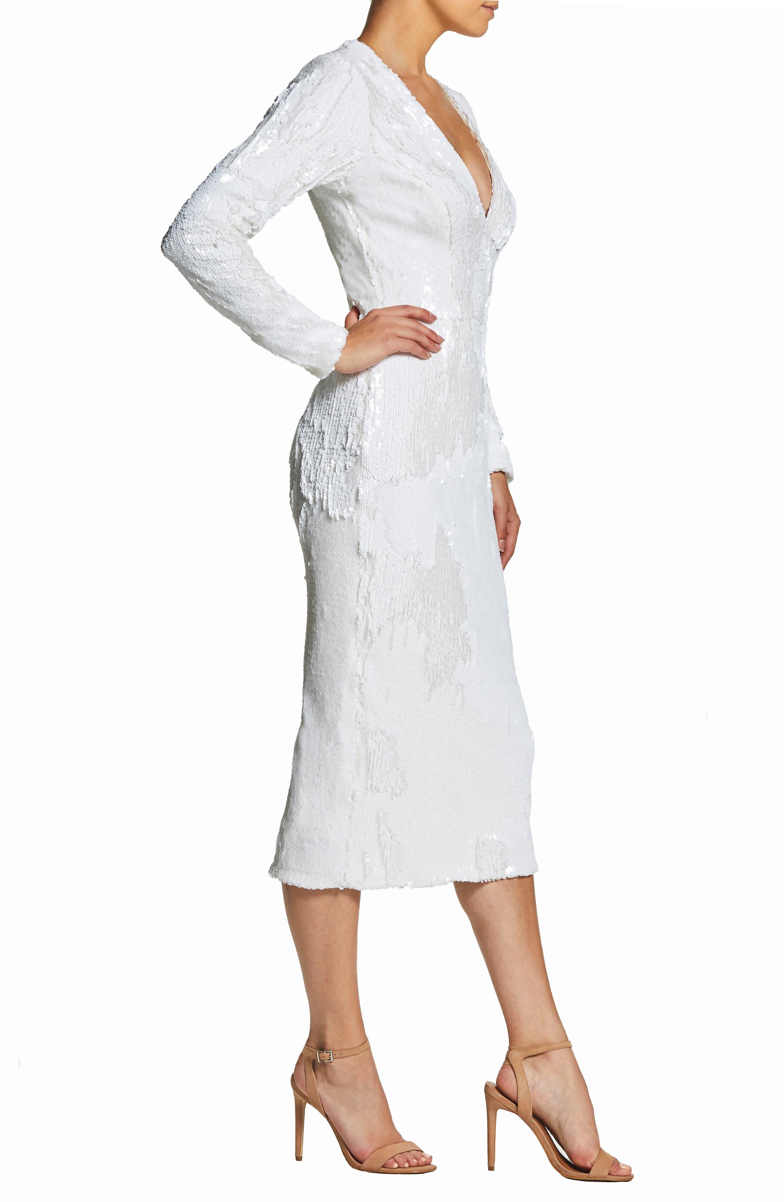 DRESS THE POPULATION, Elizabeth Plunge Midi Dress, Alternate thumbnail 3, color, LILY