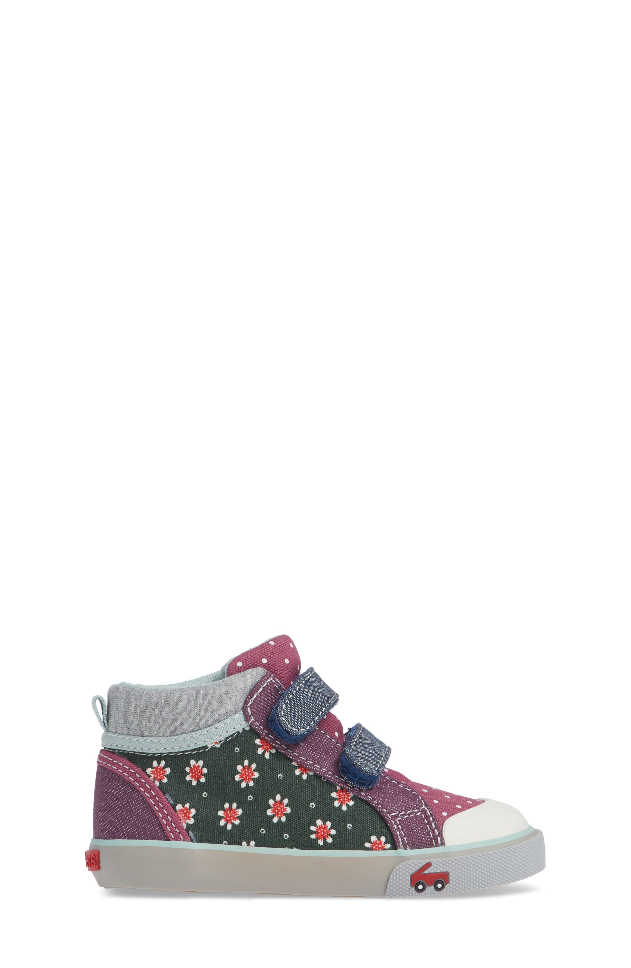 SEE KAI RUN, Kya Sneaker, Alternate thumbnail 3, color, GREEN FLORAL/MULTI