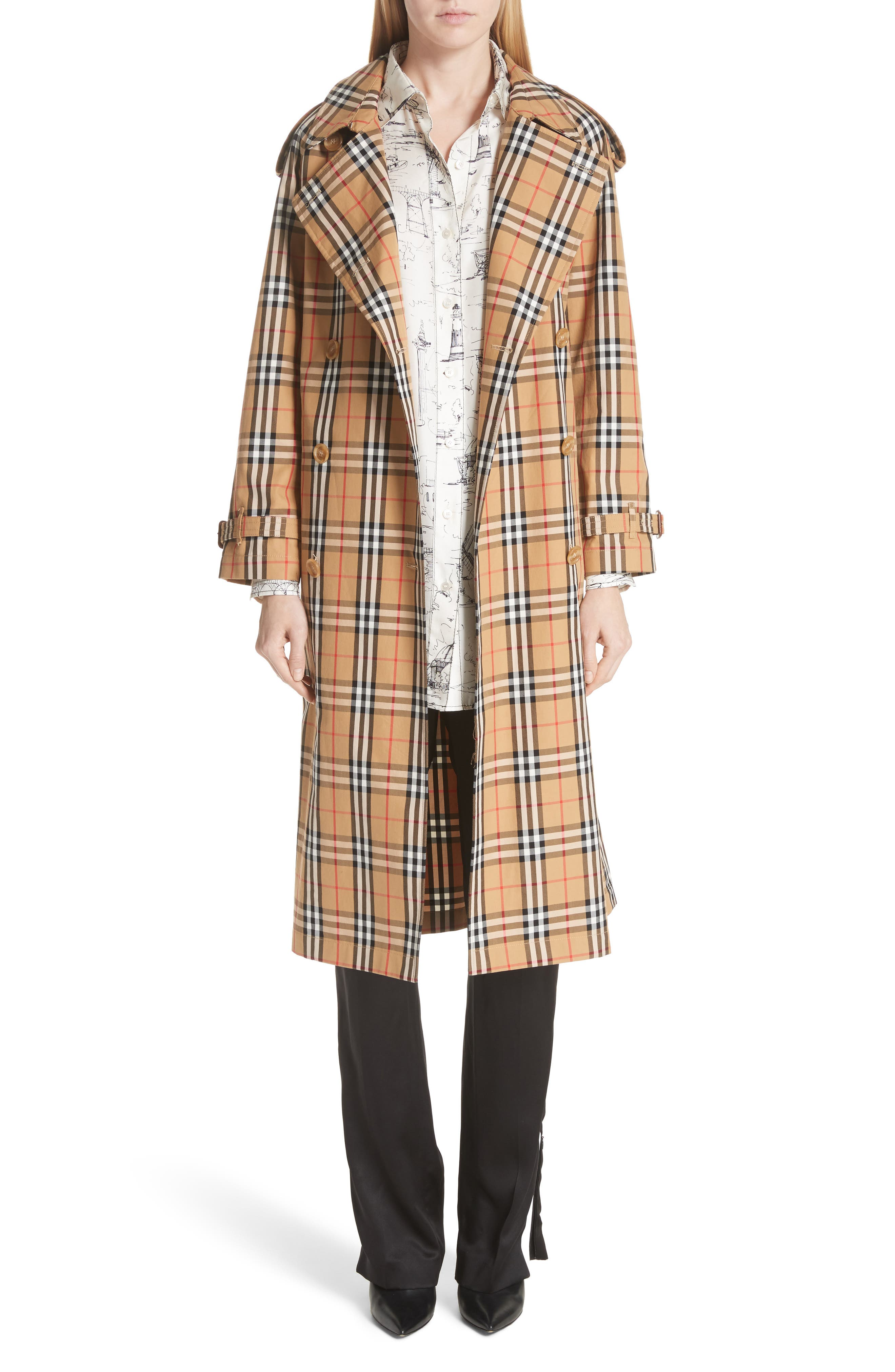BURBERRY, Eastheath Vintage Check Trench Coat, Main thumbnail 1, color, ANTIQUE YELLOW