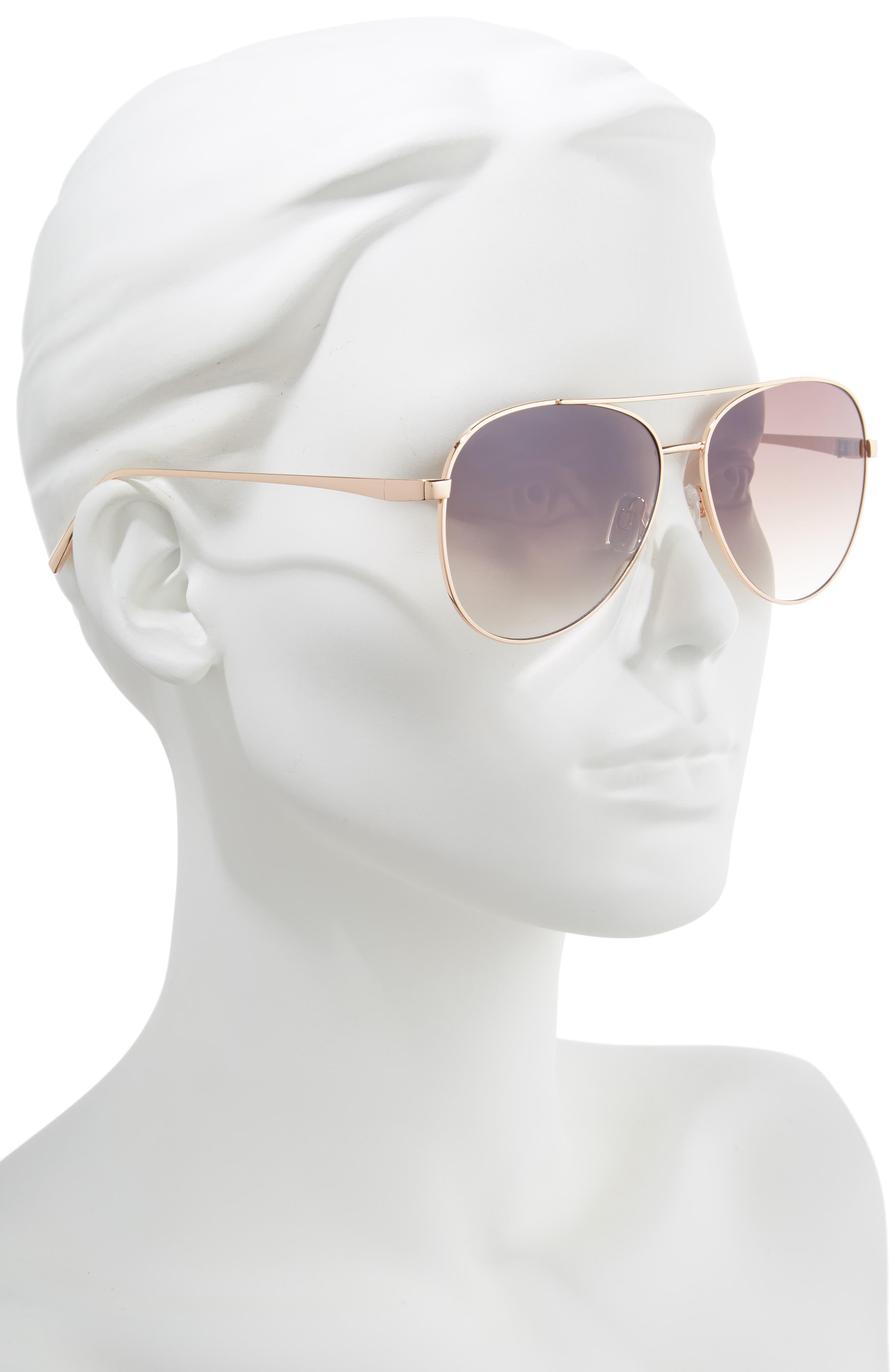 BP., 60mm Browbar Metal Aviator Sunglasses, Alternate thumbnail 2, color, GOLD/ BROWN