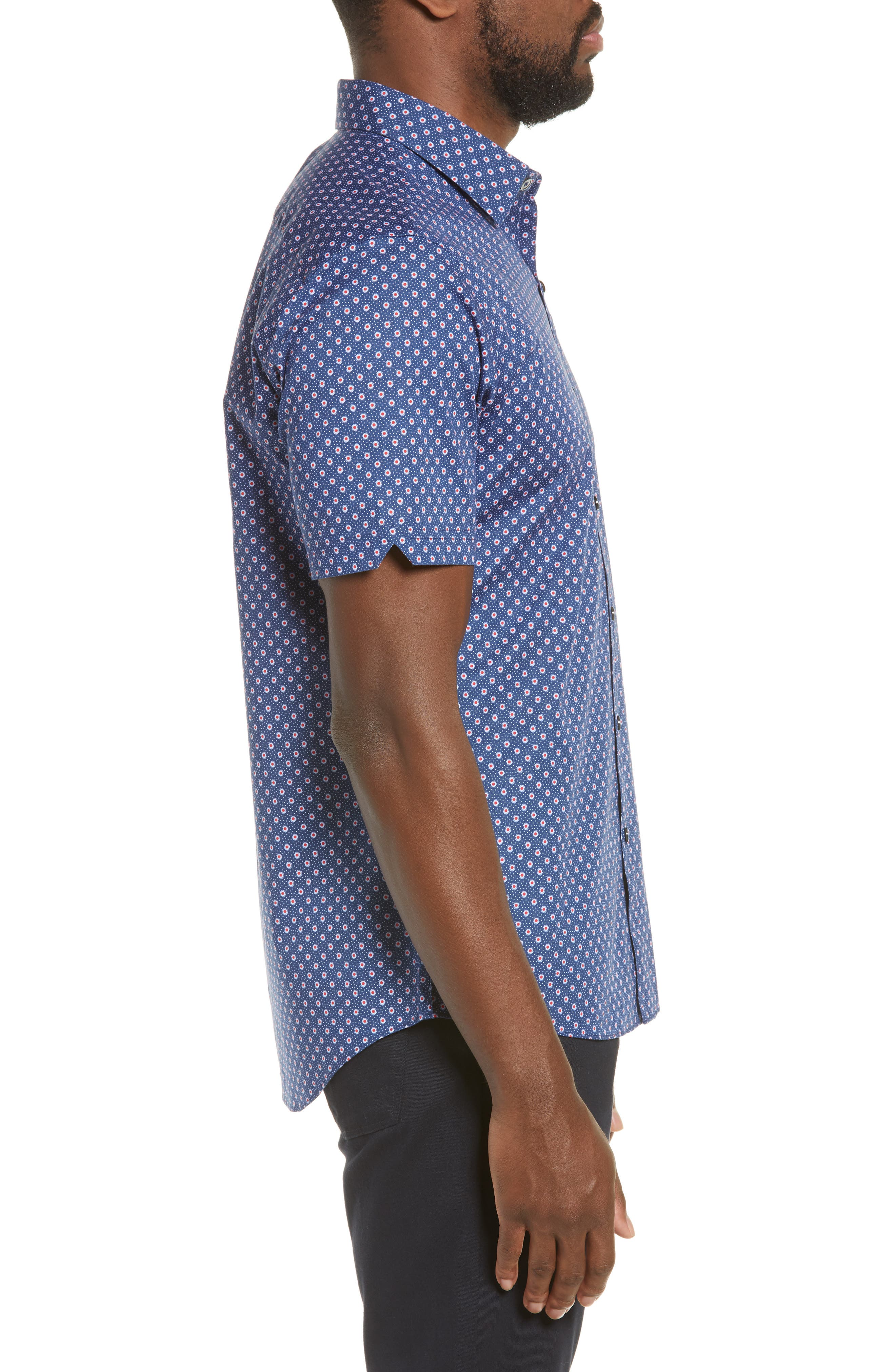 ZACHARY PRELL, Murray Regular Fit Print Sport Shirt, Alternate thumbnail 4, color, BLUE