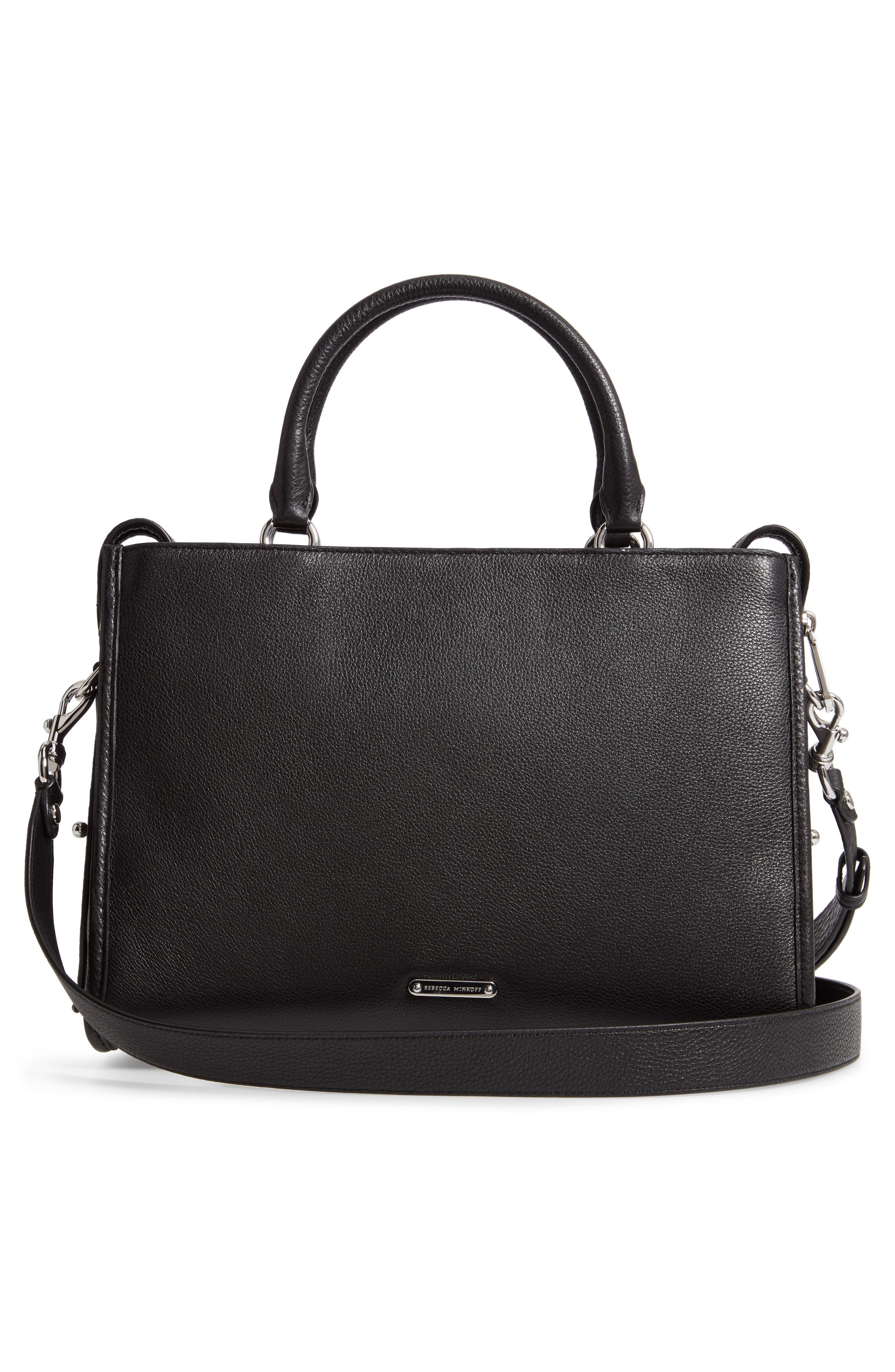 REBECCA MINKOFF, Bedford Zip Leather Satchel, Alternate thumbnail 4, color, BLACK
