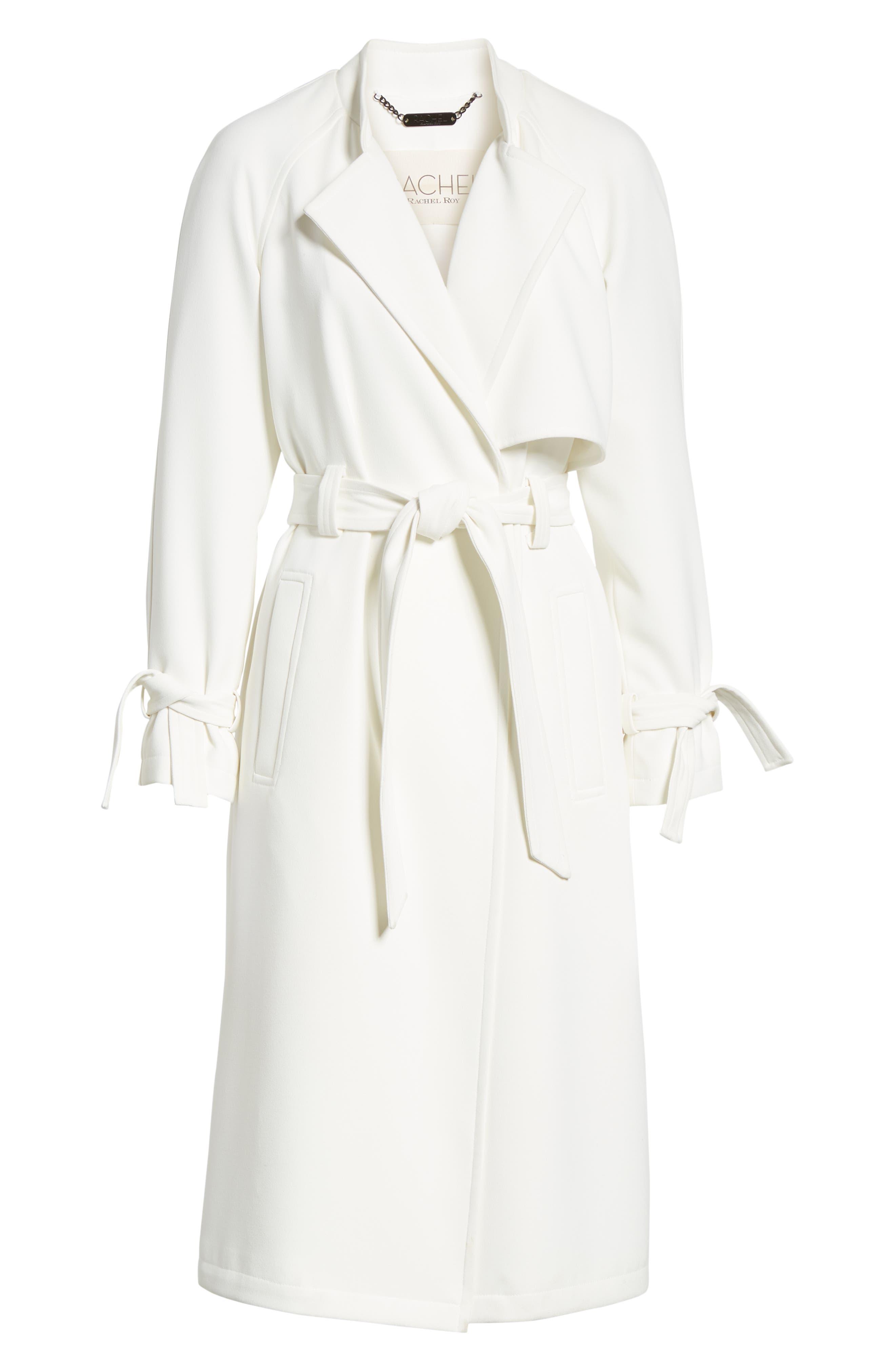 RACHEL RACHEL ROY, Luxe Crepe Trench Coat, Alternate thumbnail 5, color, WHITE
