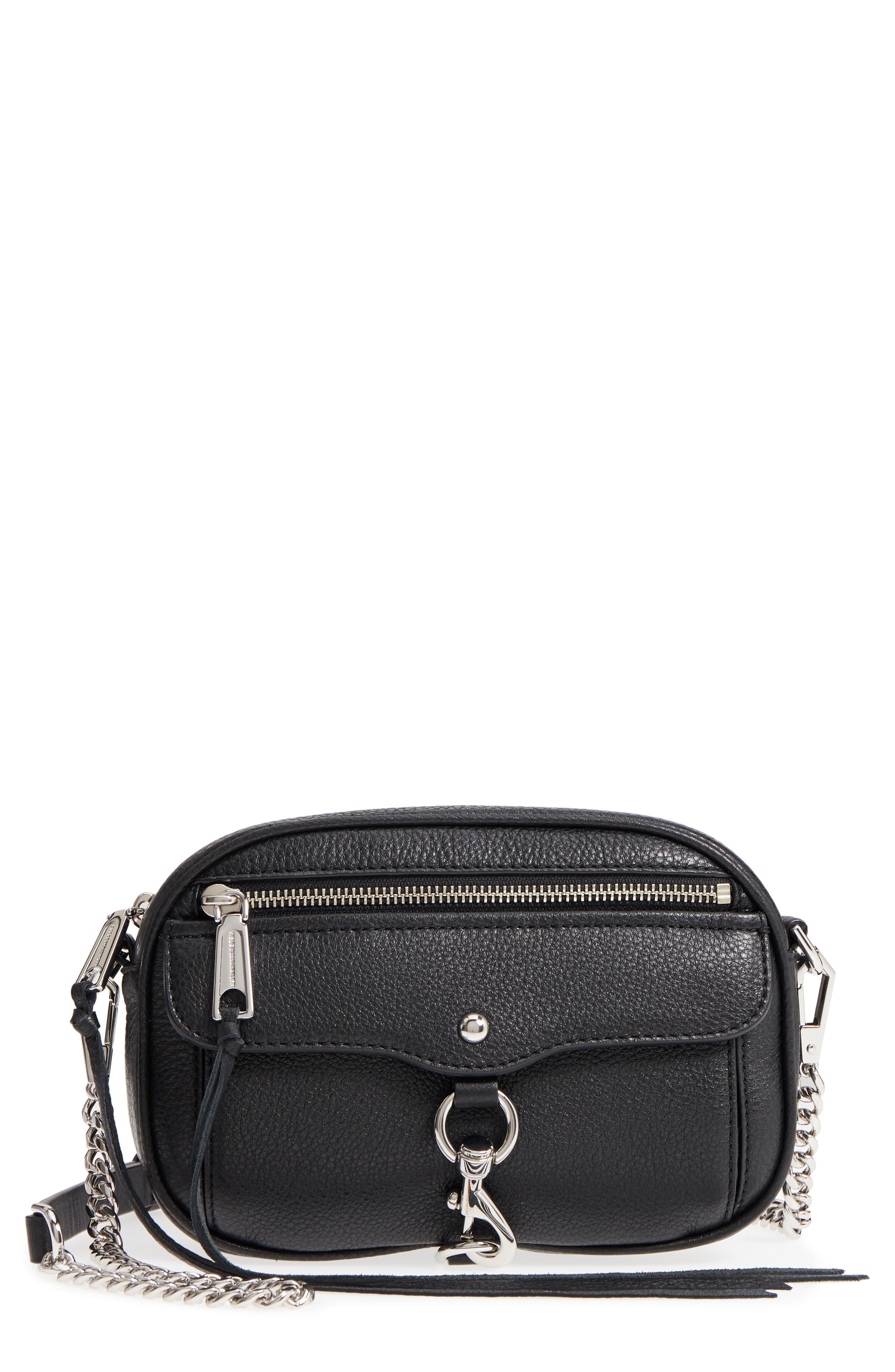 REBECCA MINKOFF Blythe Leather Crossbody Bag, Main, color, BLACK